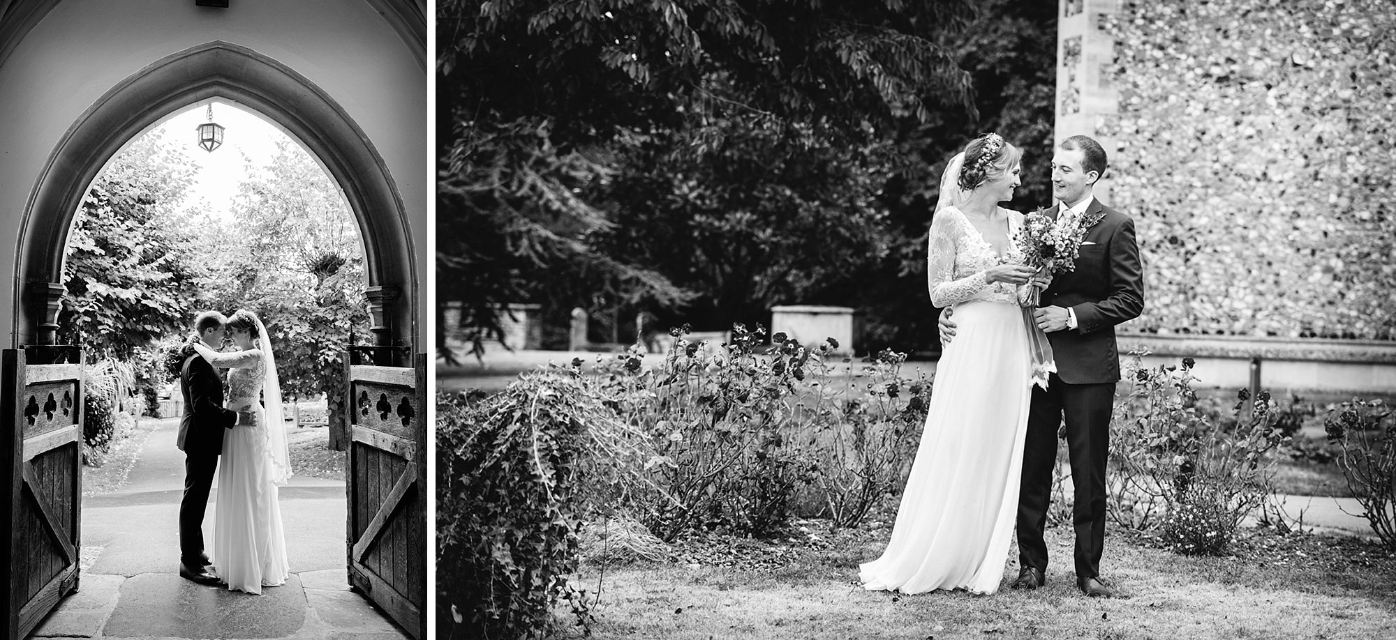 Marks Hall Estate wedding photography bride and groom in church grounds