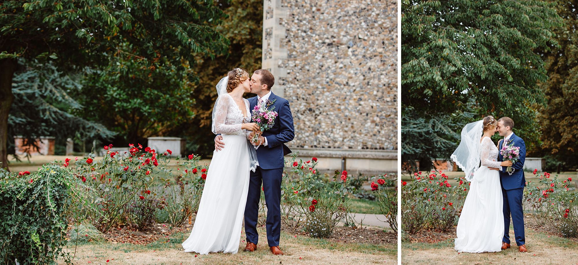 Marks Hall Estate wedding photography bride and room with roses in church grounds