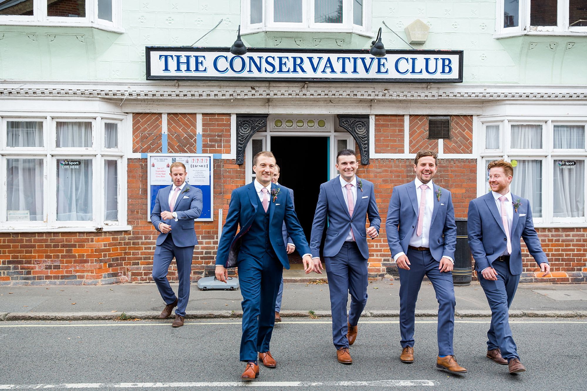 Marks Hall Estate wedding photography groom's party outside conservative club