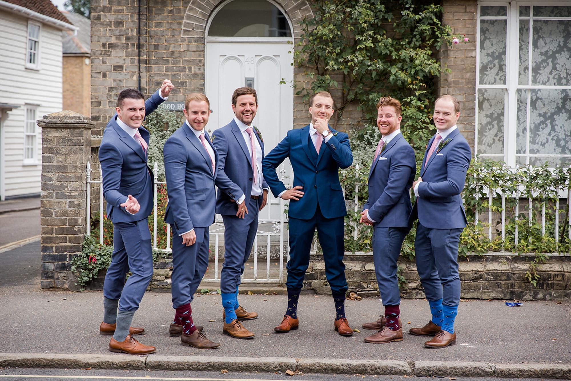 Marks Hall Estate wedding photography groomsmen with funky socks