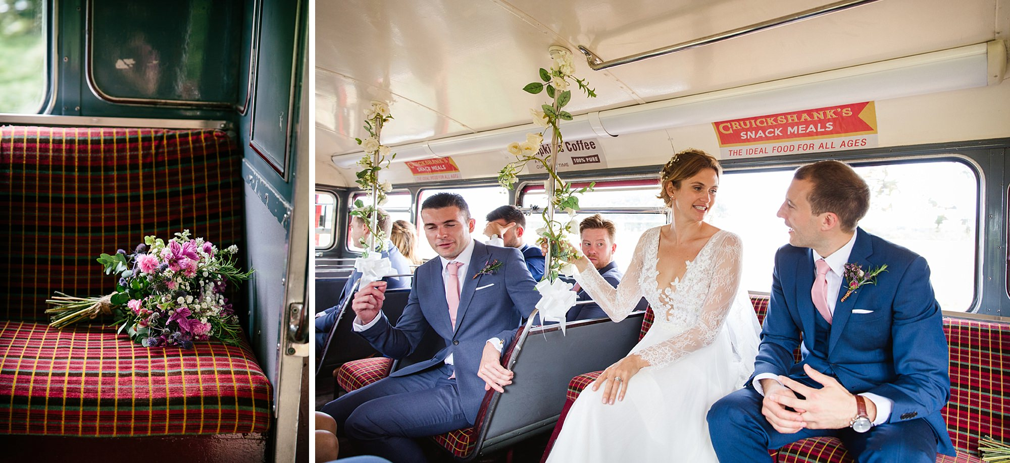 Marks Hall Estate wedding photography wedding party on vintage bus