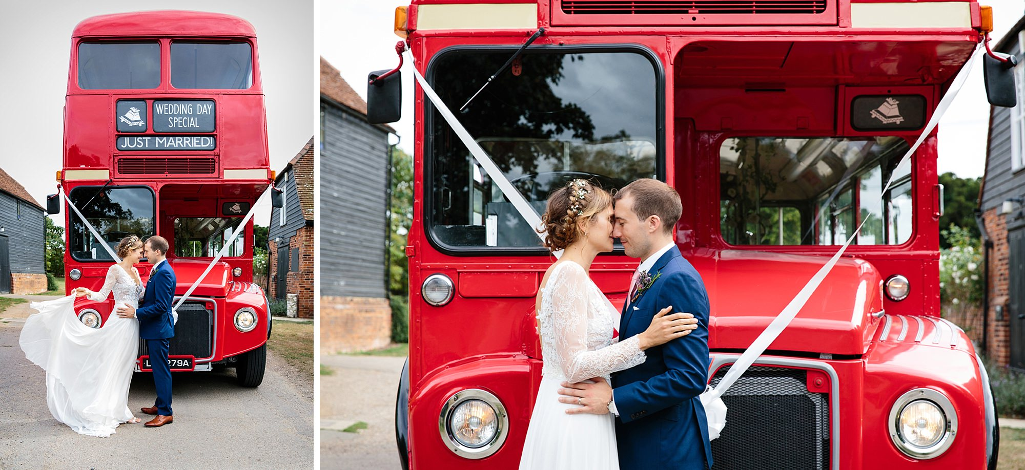 Marks Hall Estate wedding photography bride and groom with vintage london wedding bus