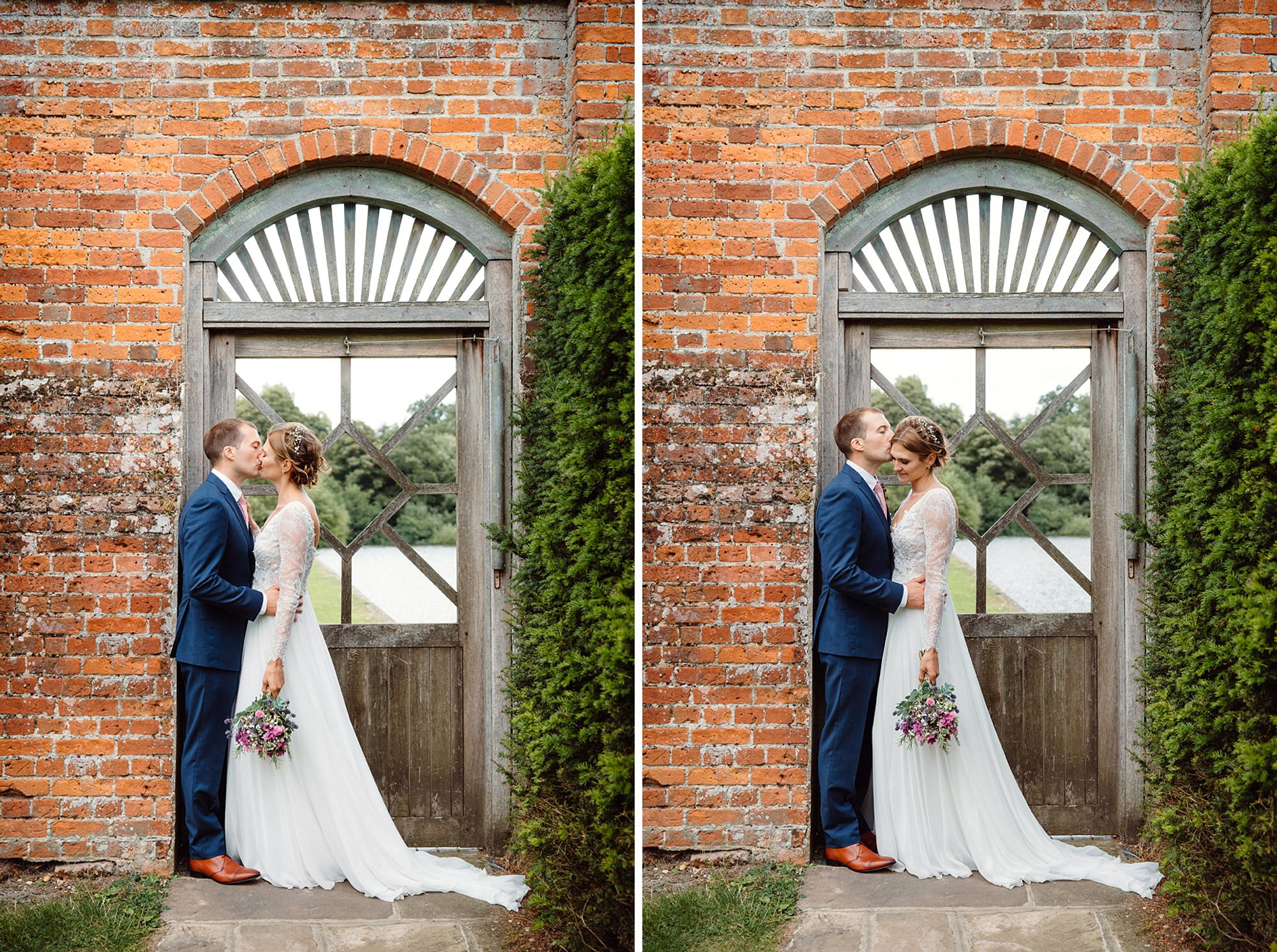 Marks Hall Estate wedding photography bride and groom kiss in doorway