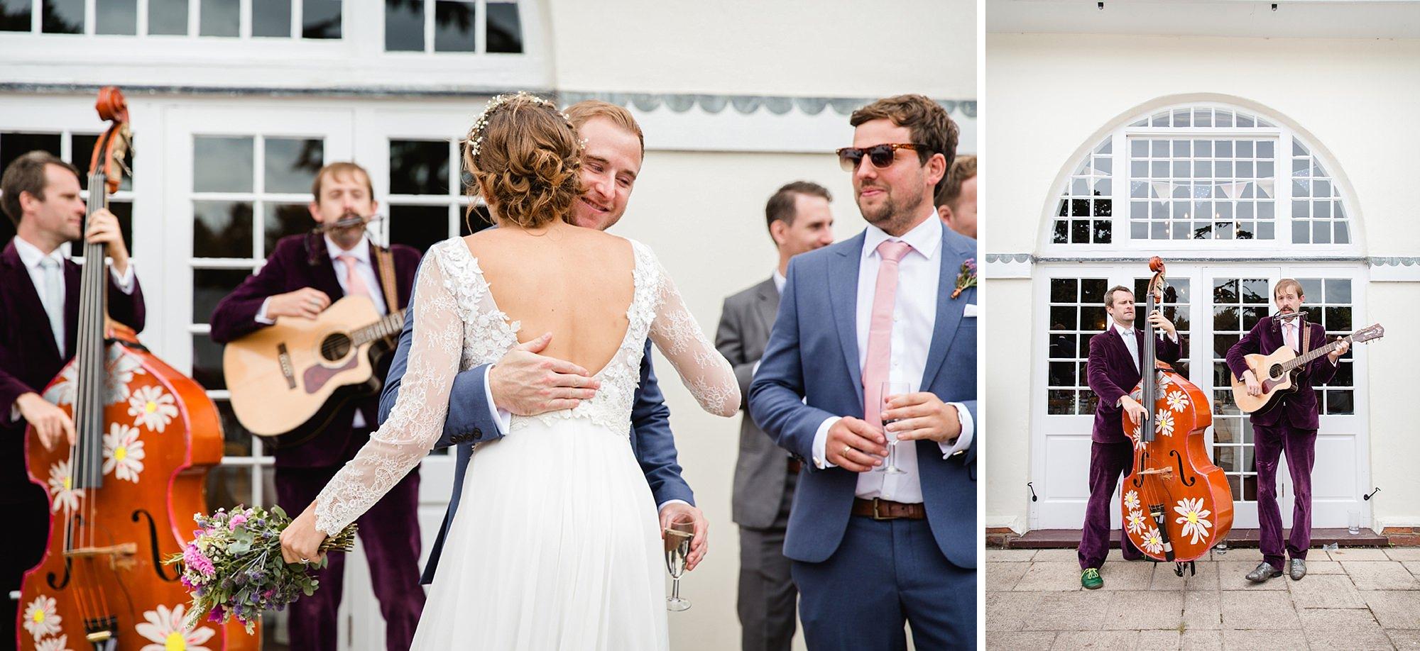 Marks Hall Estate wedding photography wedding guests and band at marks hall estate wedding