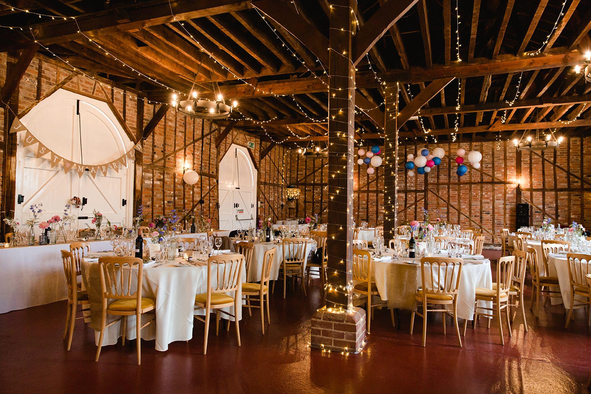 Marks Hall Estate wedding photography barn interior