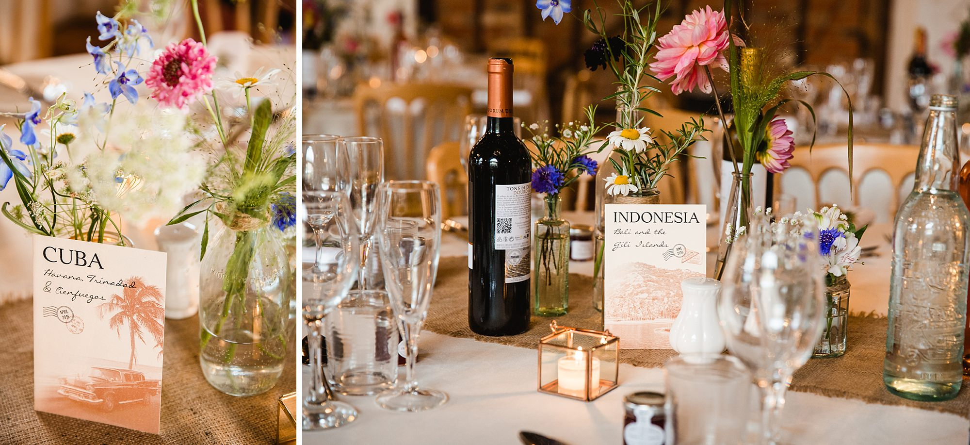 Marks Hall Estate wedding photography table name postcards