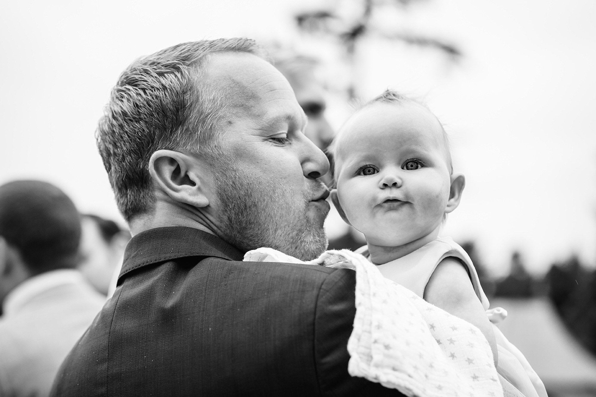 Marks Hall Estate wedding photography wedding guests with baby