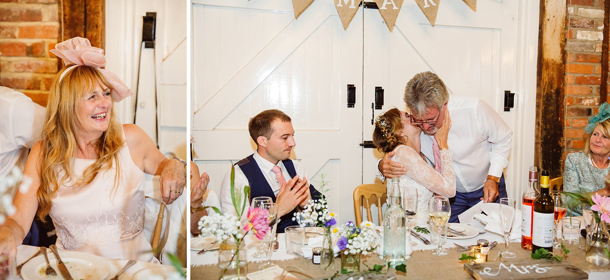 Marks Hall Estate wedding photography bride kissing her father after speech