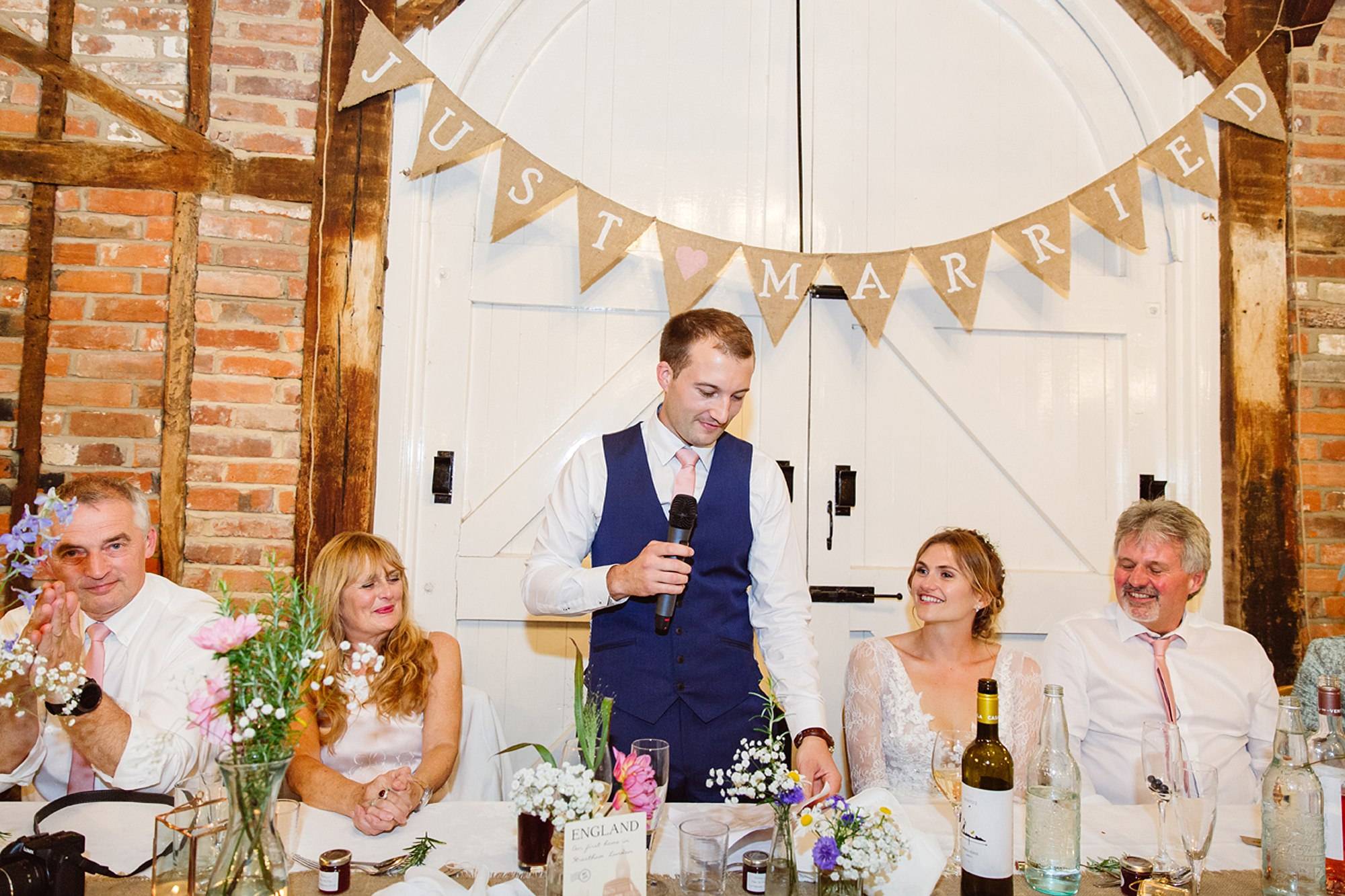 Marks Hall Estate wedding photography groom giving speech