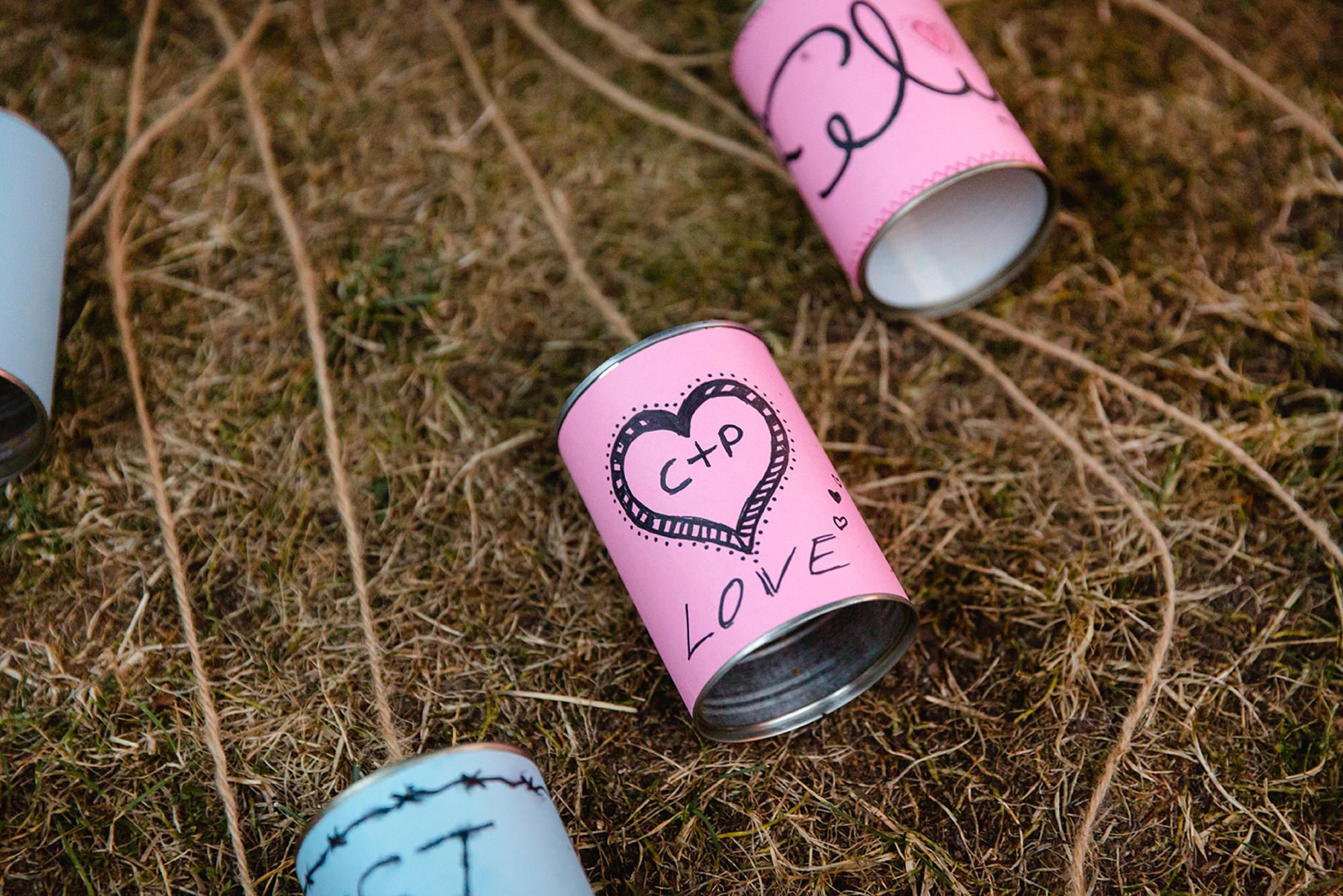 Marks Hall Estate wedding photography handmade car cans