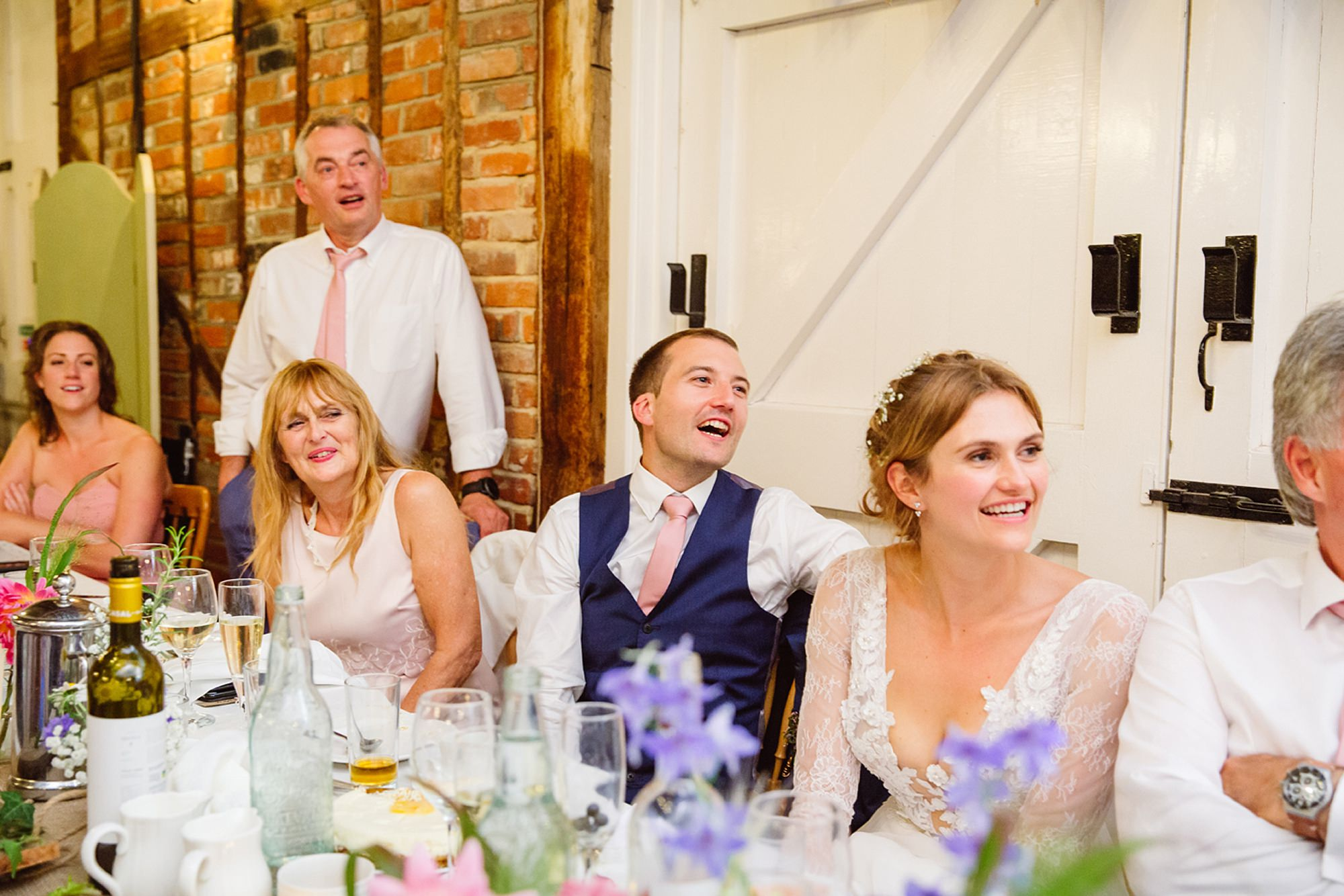 Marks Hall Estate wedding photography bride and groom during speech
