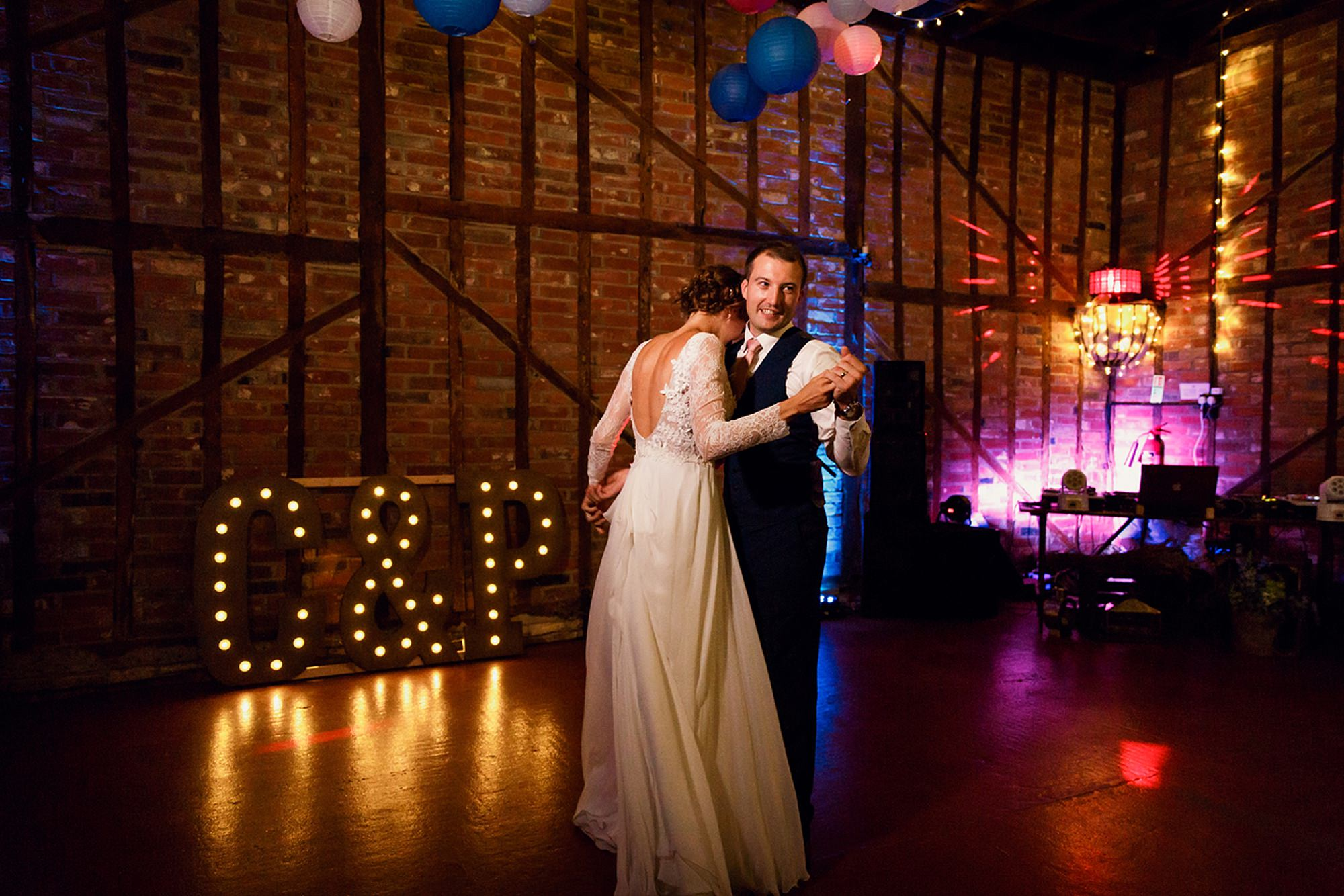 Marks Hall Estate wedding photography bride and groom first dance together