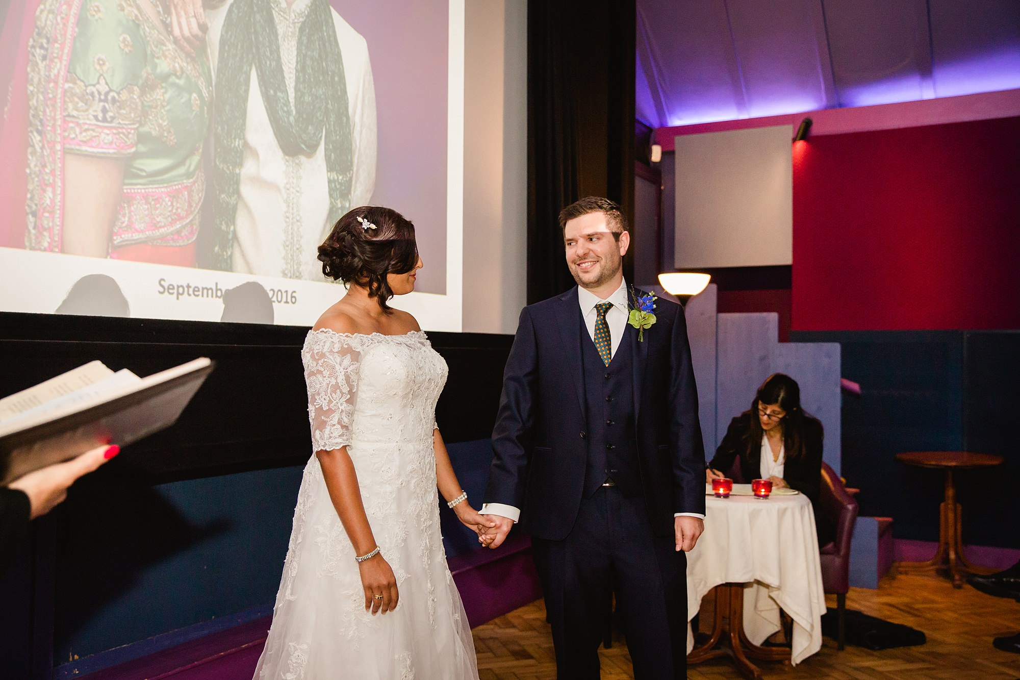 Paradise by way of Kensal Green wedding bride and groom during ceremony