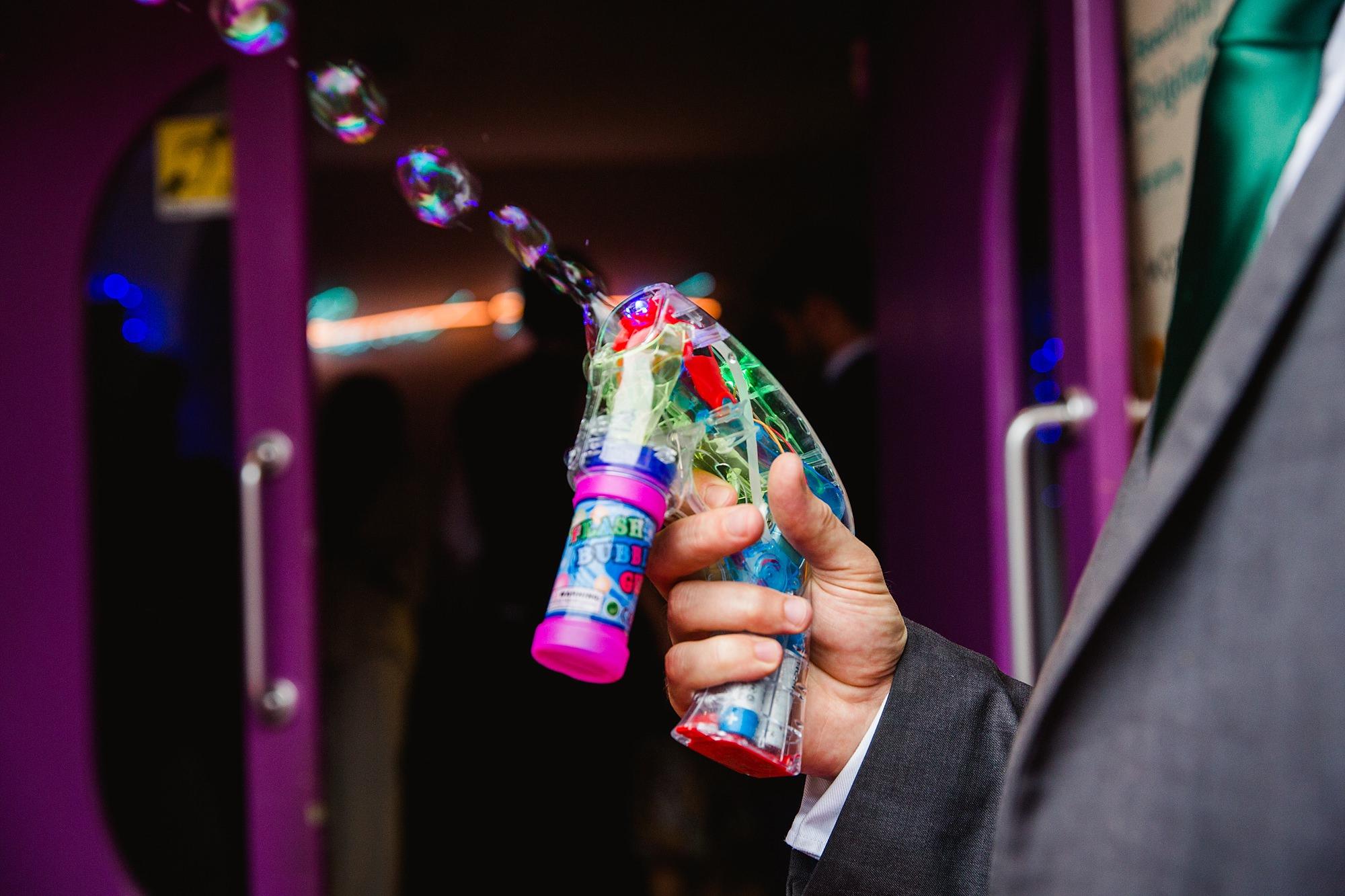 Paradise by way of Kensal Green wedding bubble gun