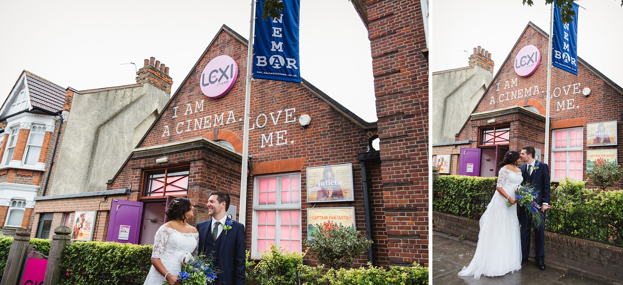 Paradise by way of Kensal Green wedding bride and groom at lexi cinema