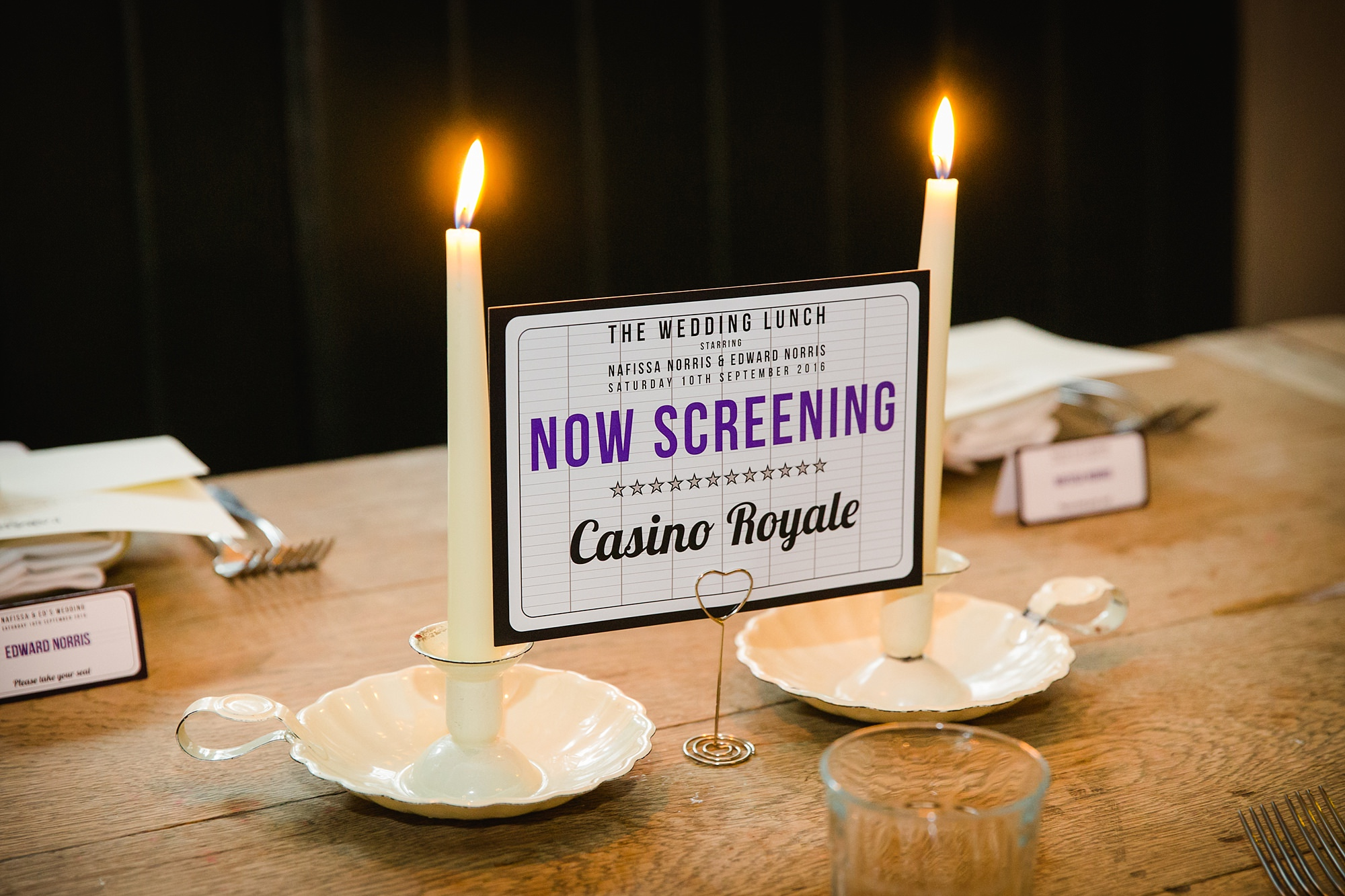 Paradise by way of Kensal Green wedding james bond table name