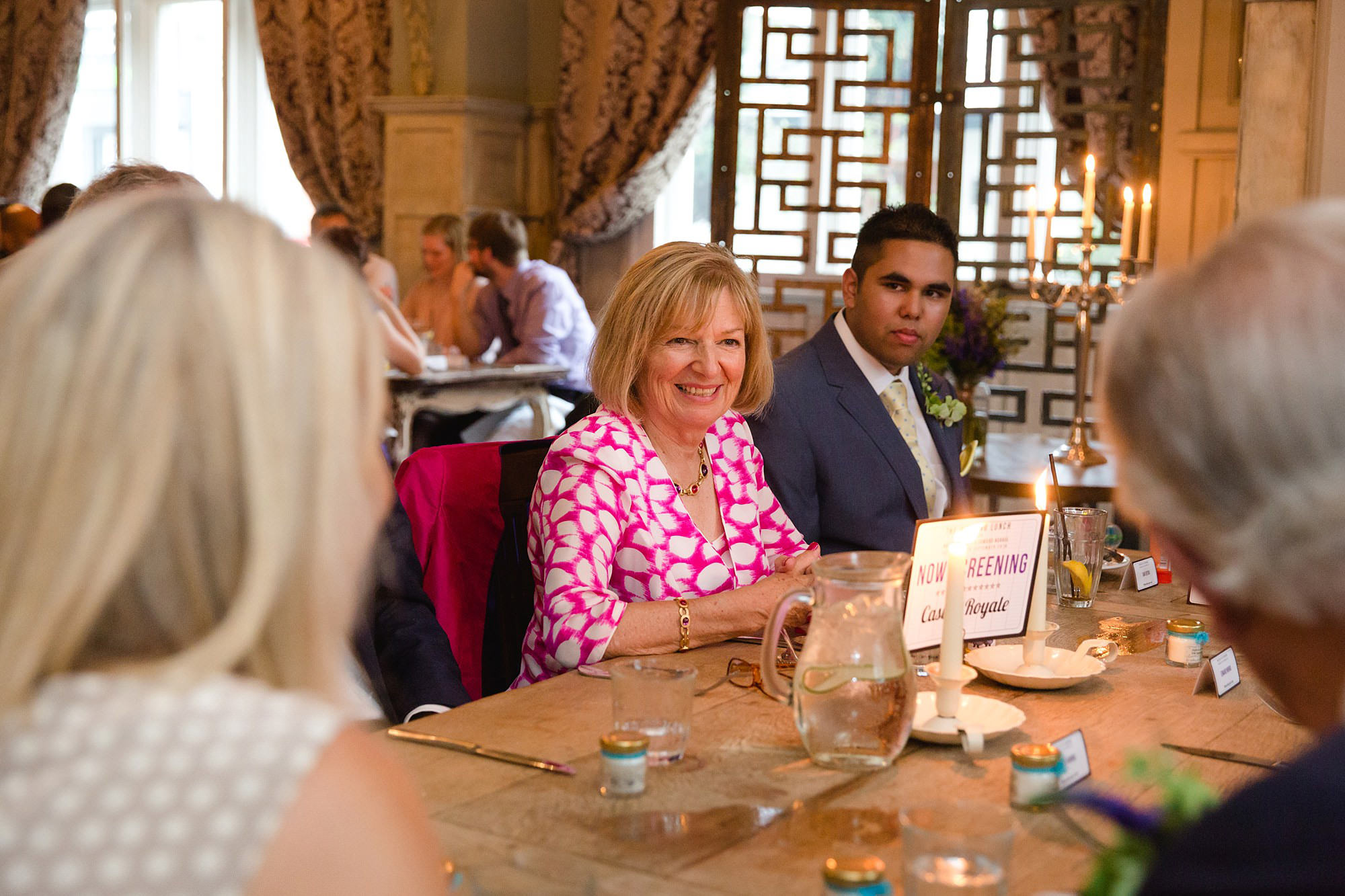 Paradise by way of Kensal Green wedding portrait of wedding guests during dinner