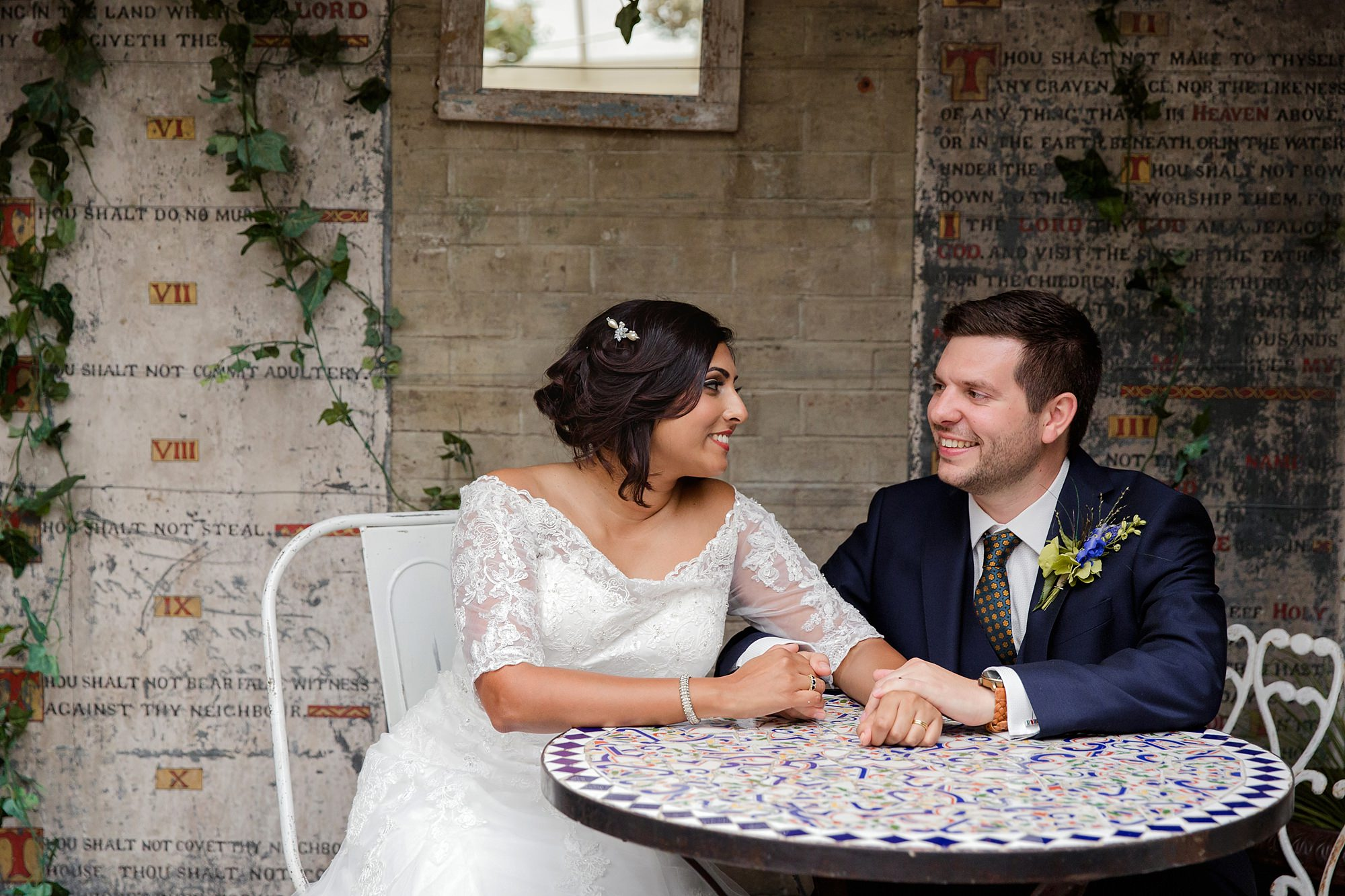 Paradise by way of Kensal Green wedding bride and groom talking together