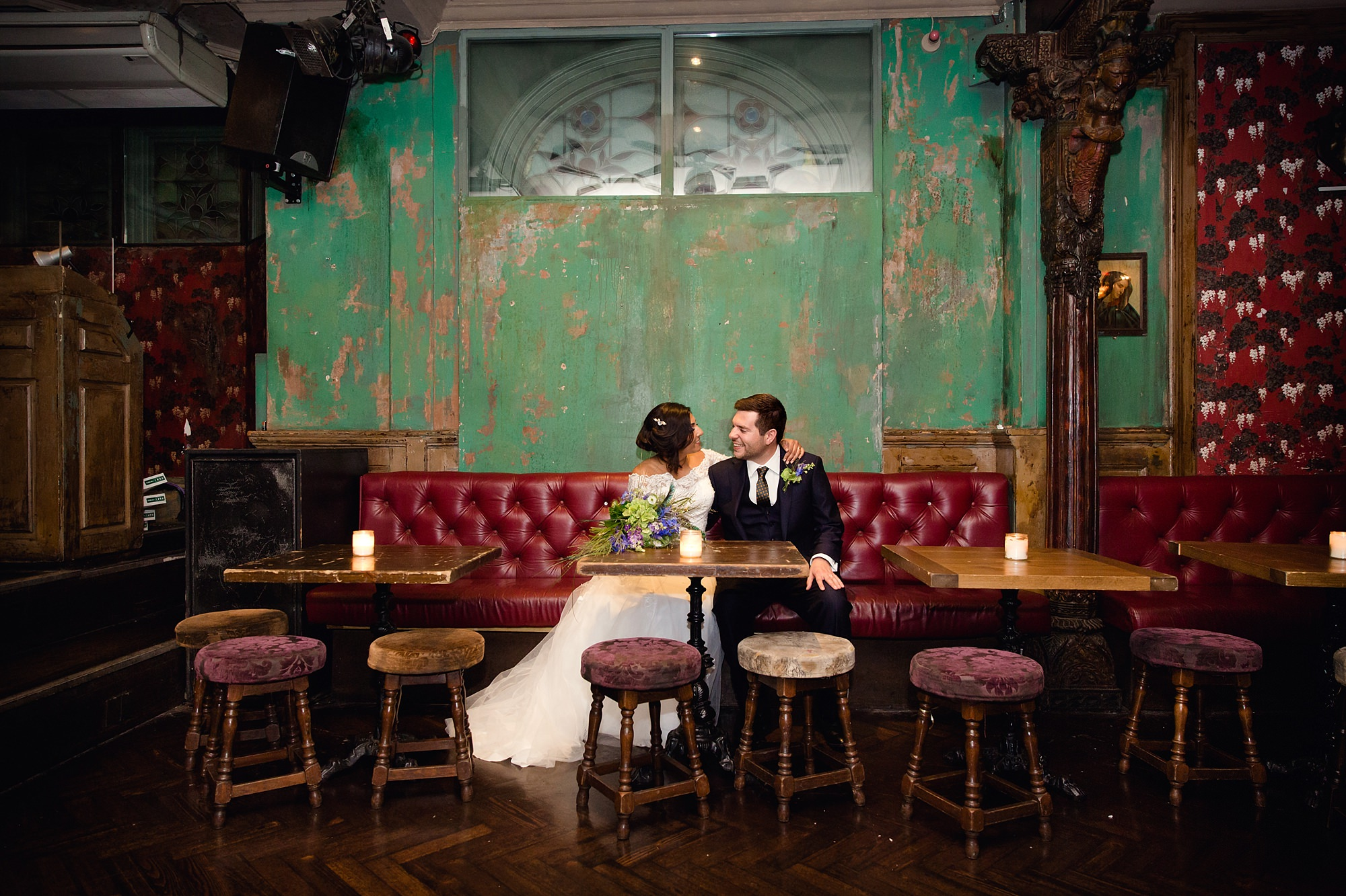 Paradise by way of Kensal Green wedding bride and groom in bar