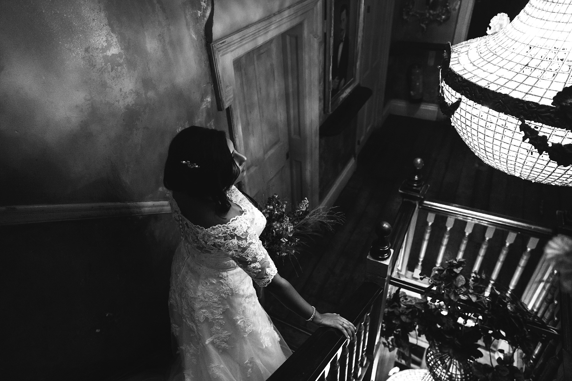 Paradise by way of Kensal Green wedding bride on stairs