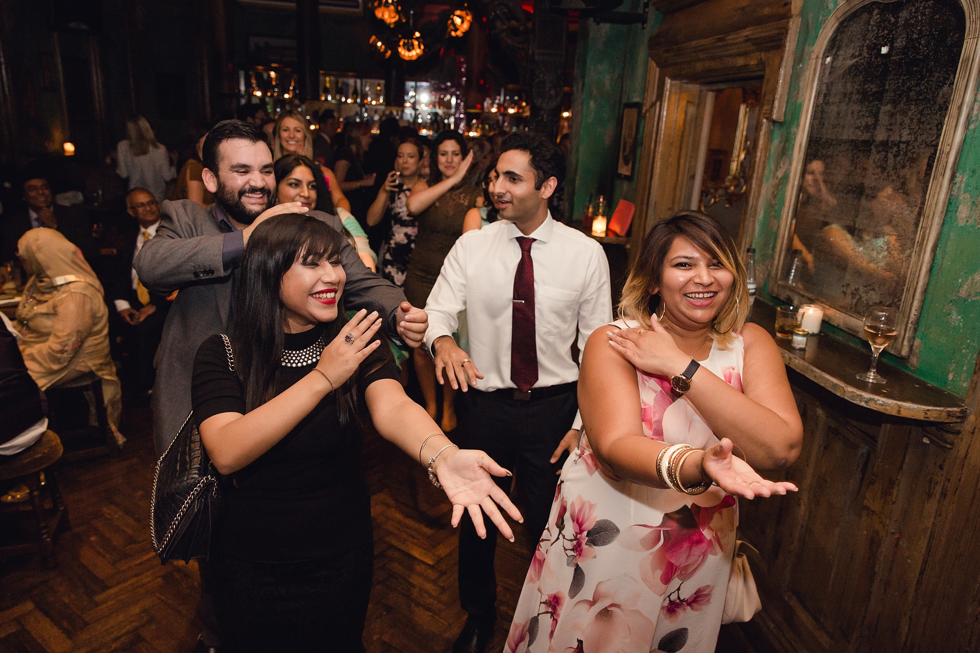Paradise by way of Kensal Green wedding guests doing dance routine