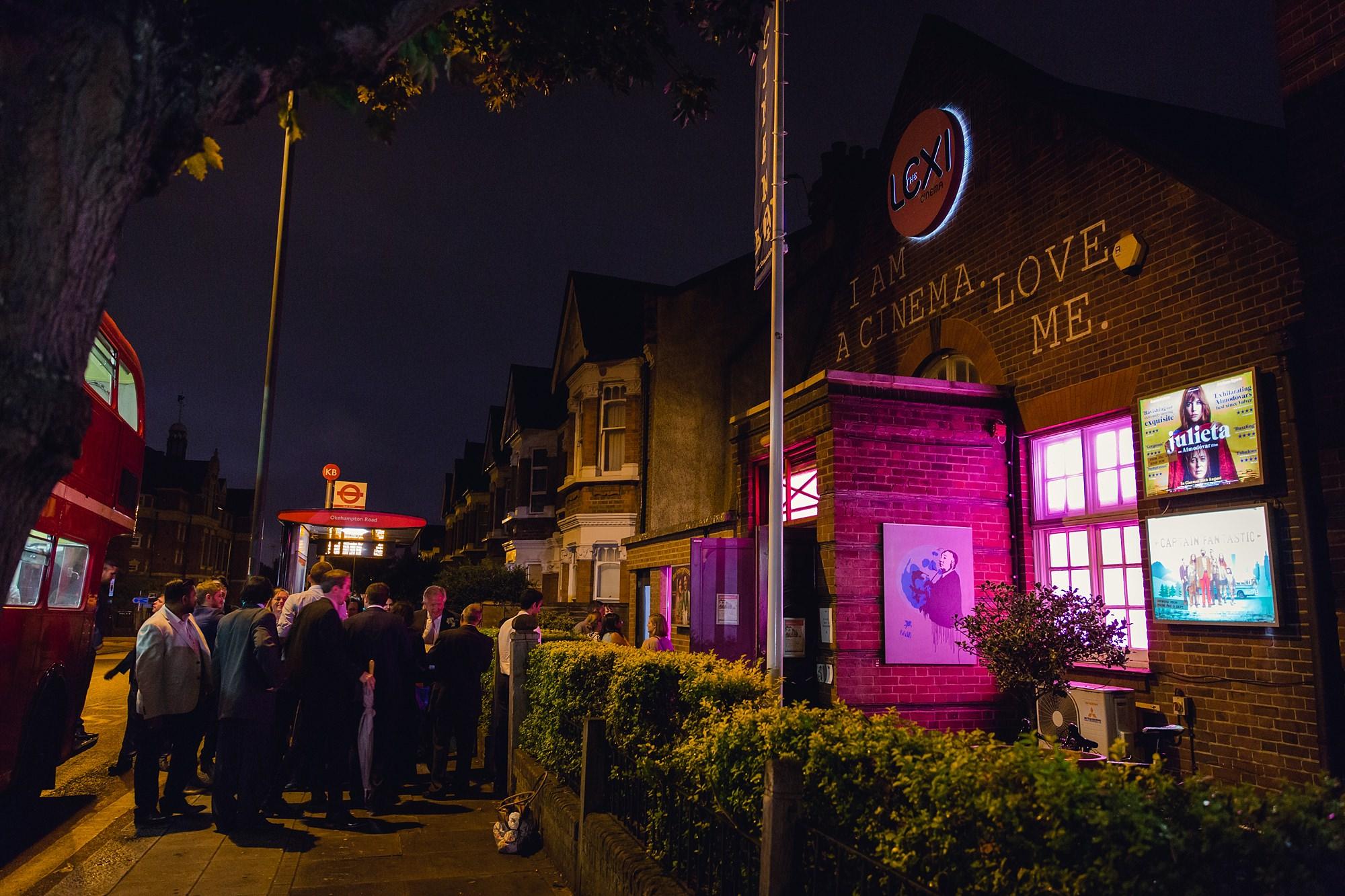 Paradise by way of Kensal Green wedding Lexi cinema at night