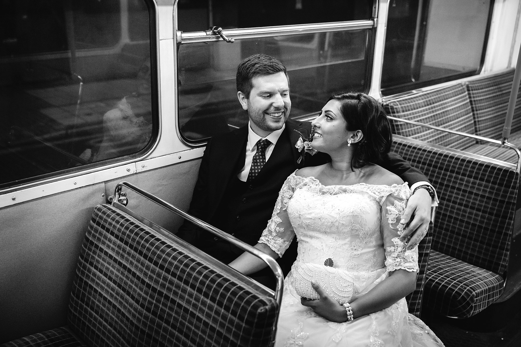 Paradise by way of Kensal Green wedding bride and groom on bus
