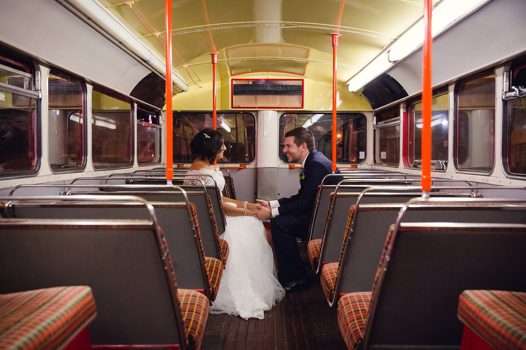 Paradise by way of Kensal Green wedding bride and groom on vintage bus