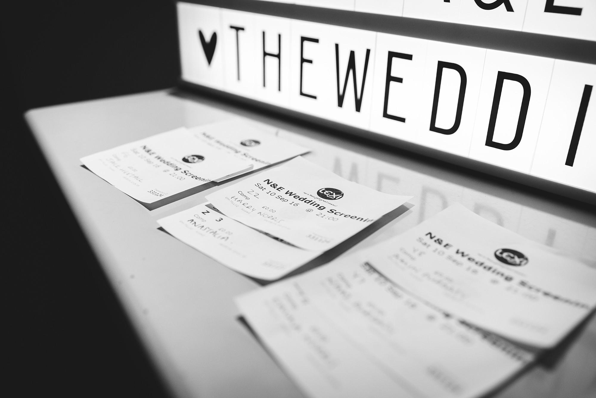 Paradise by way of Kensal Green wedding cinema tickets