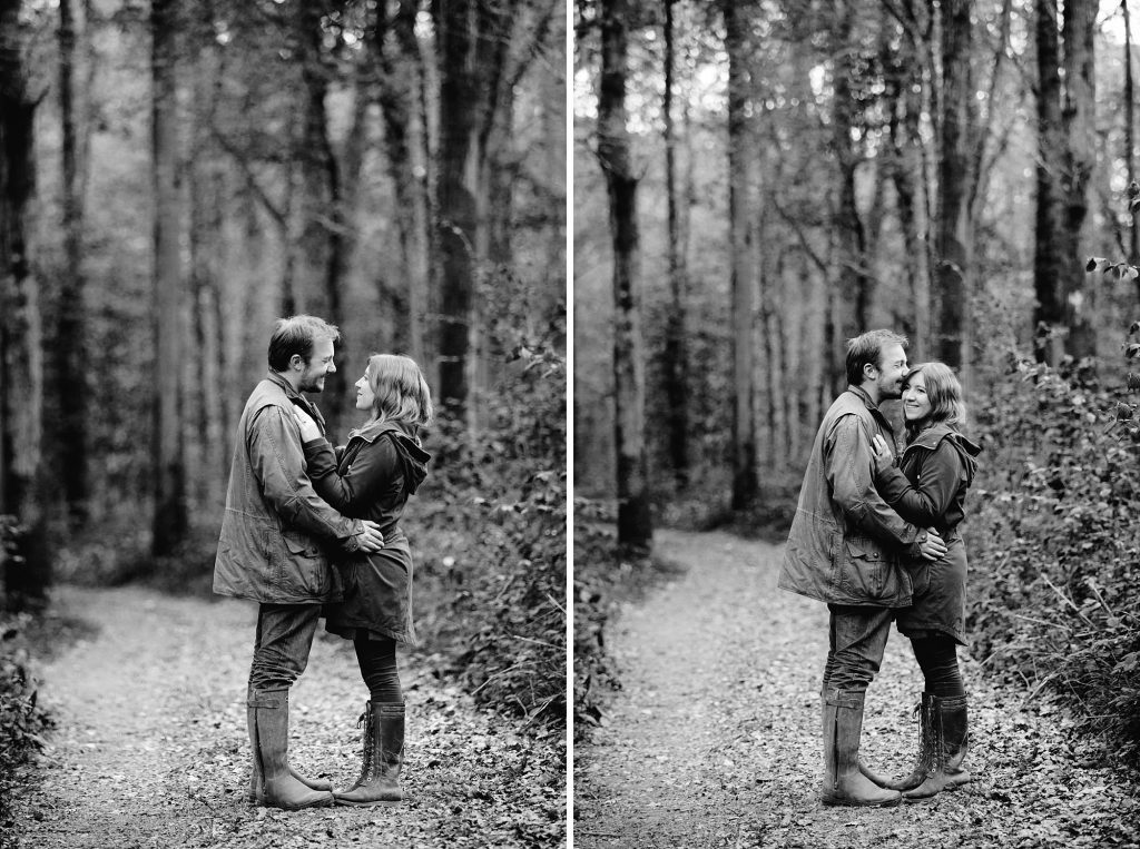 springtime engagement shoot in forest