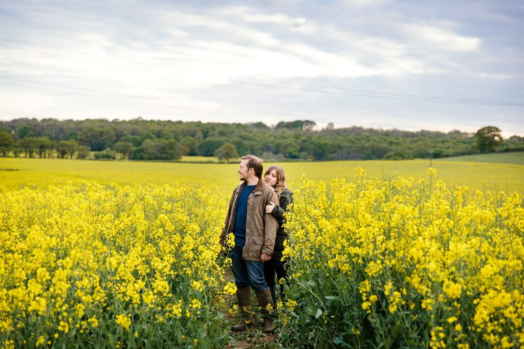 spring engagement shoot in rapeseed field