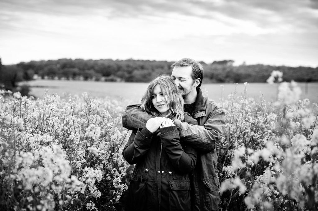 spring engagement shoot in field