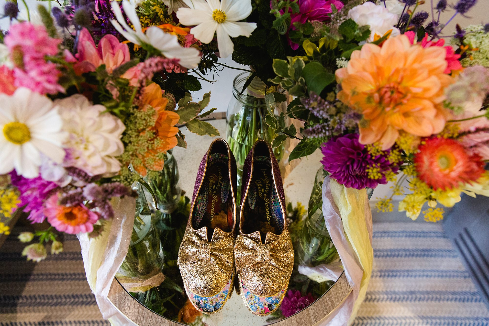 Woodland Weddings Tring bride's shoes with flowers