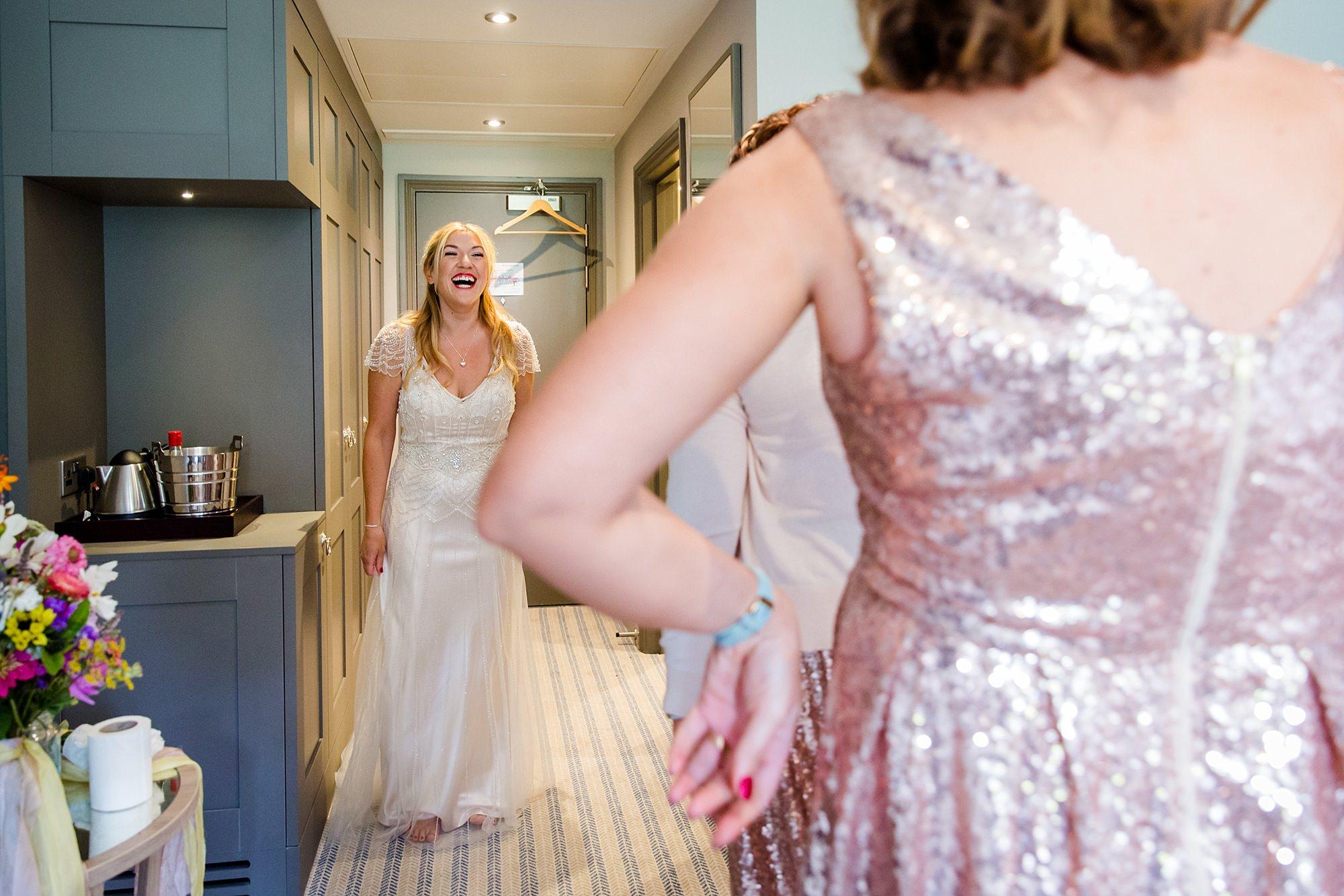 Woodland Weddings Tring laughing bride