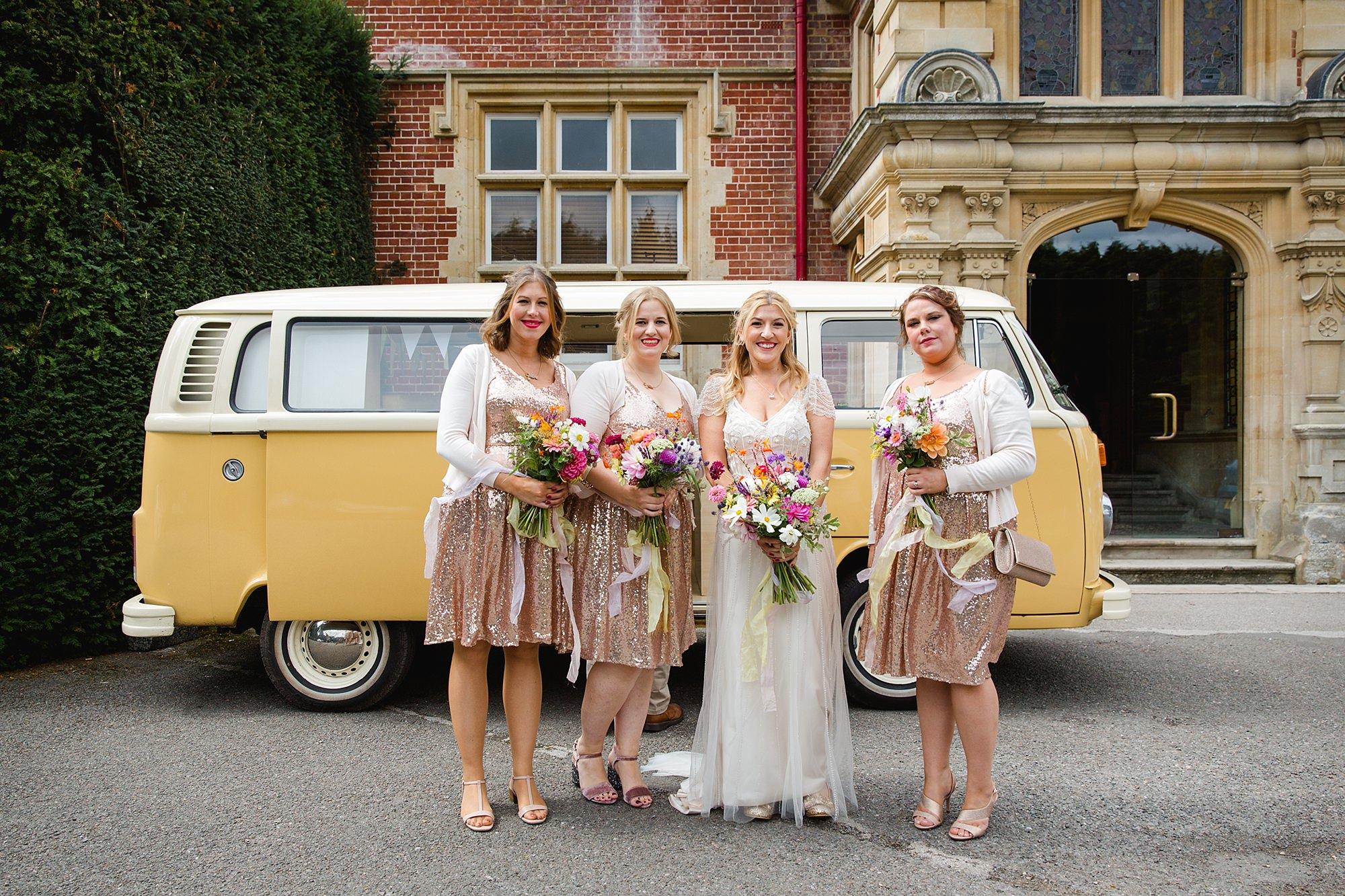 Woodland Weddings Tring bride and bridesmaids with camper van