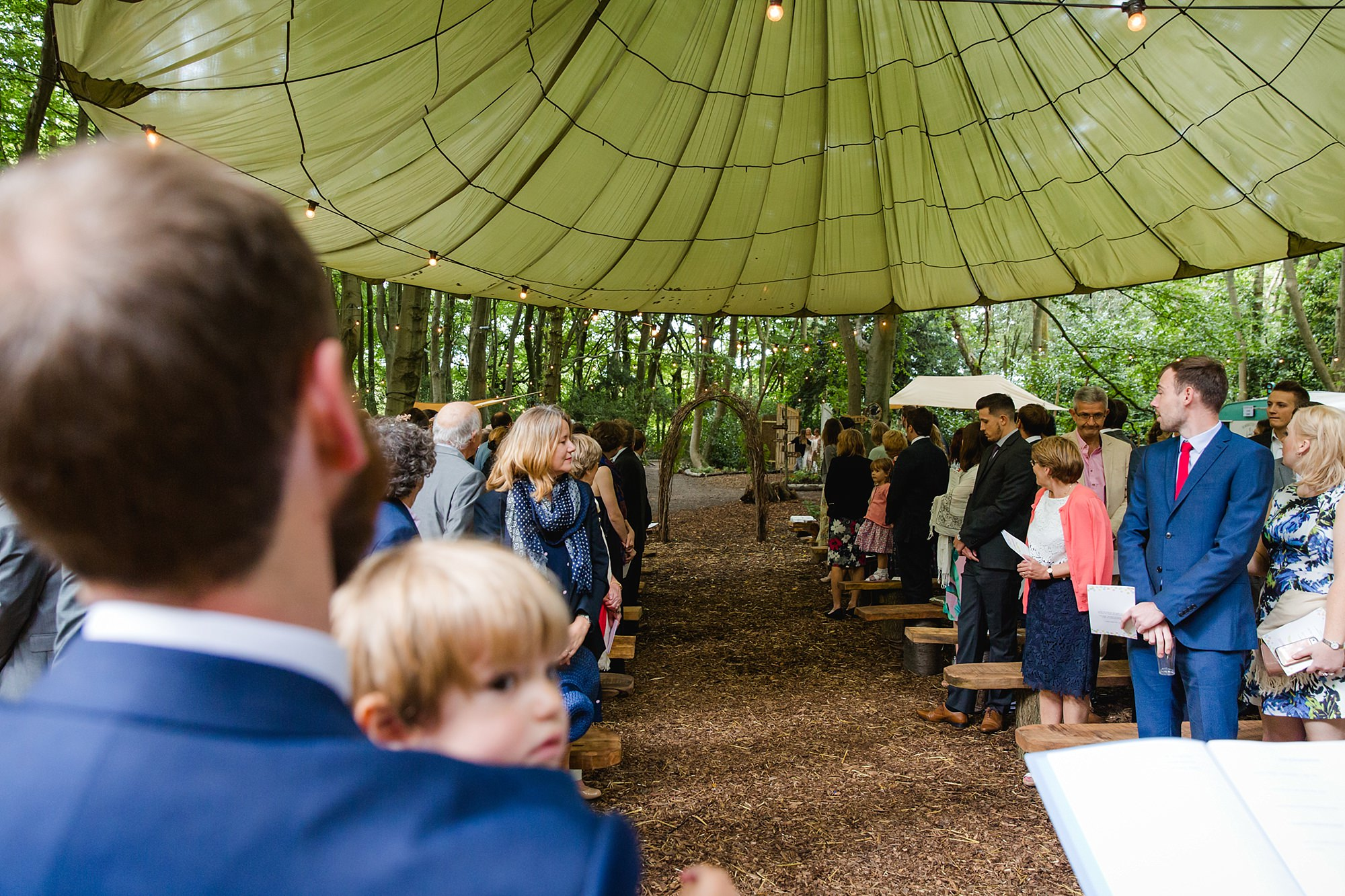 Woodland Weddings Tring groom waiting for bride arrival
