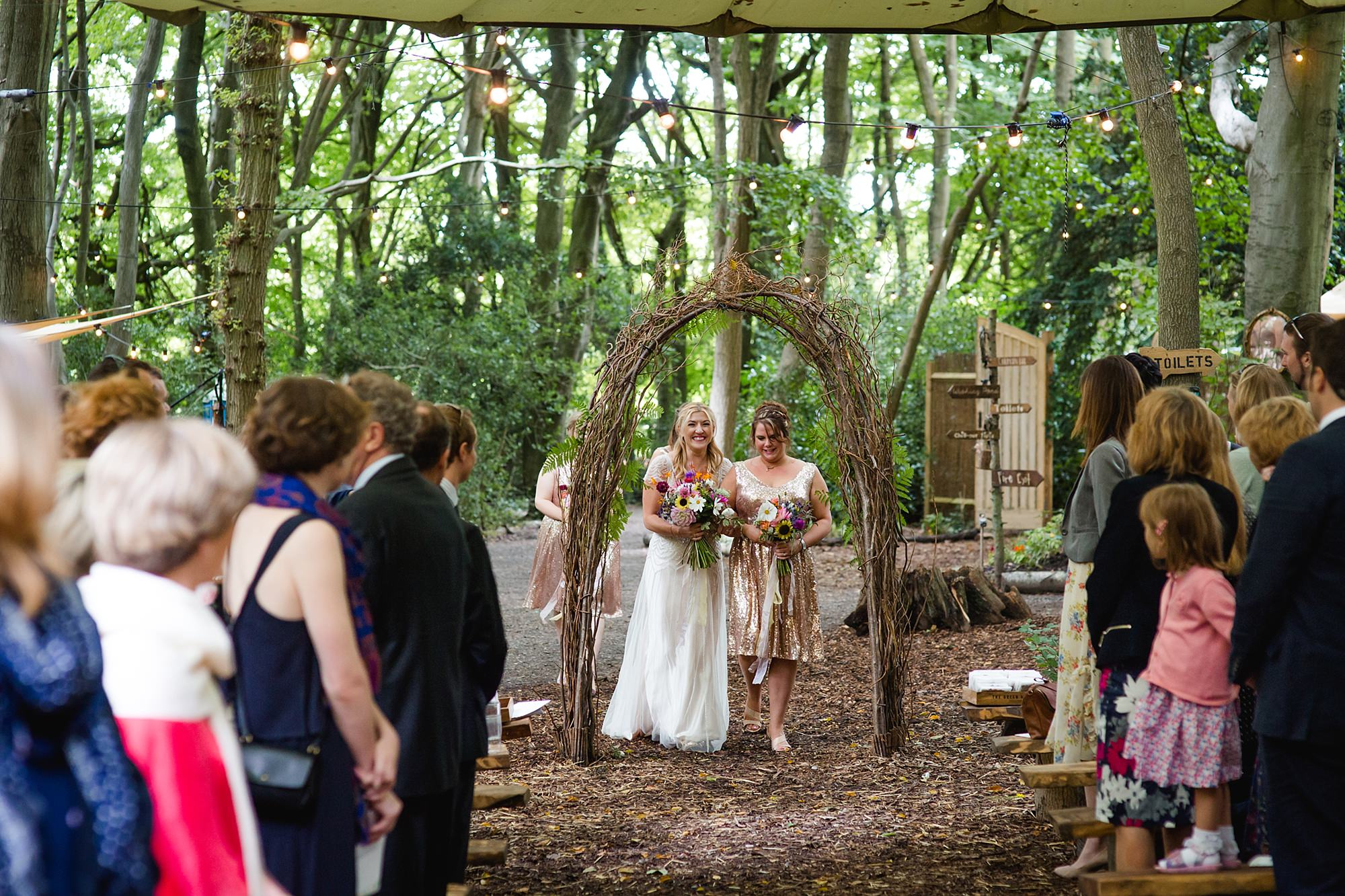 Woodland Weddings Tring bride walking down the aisle