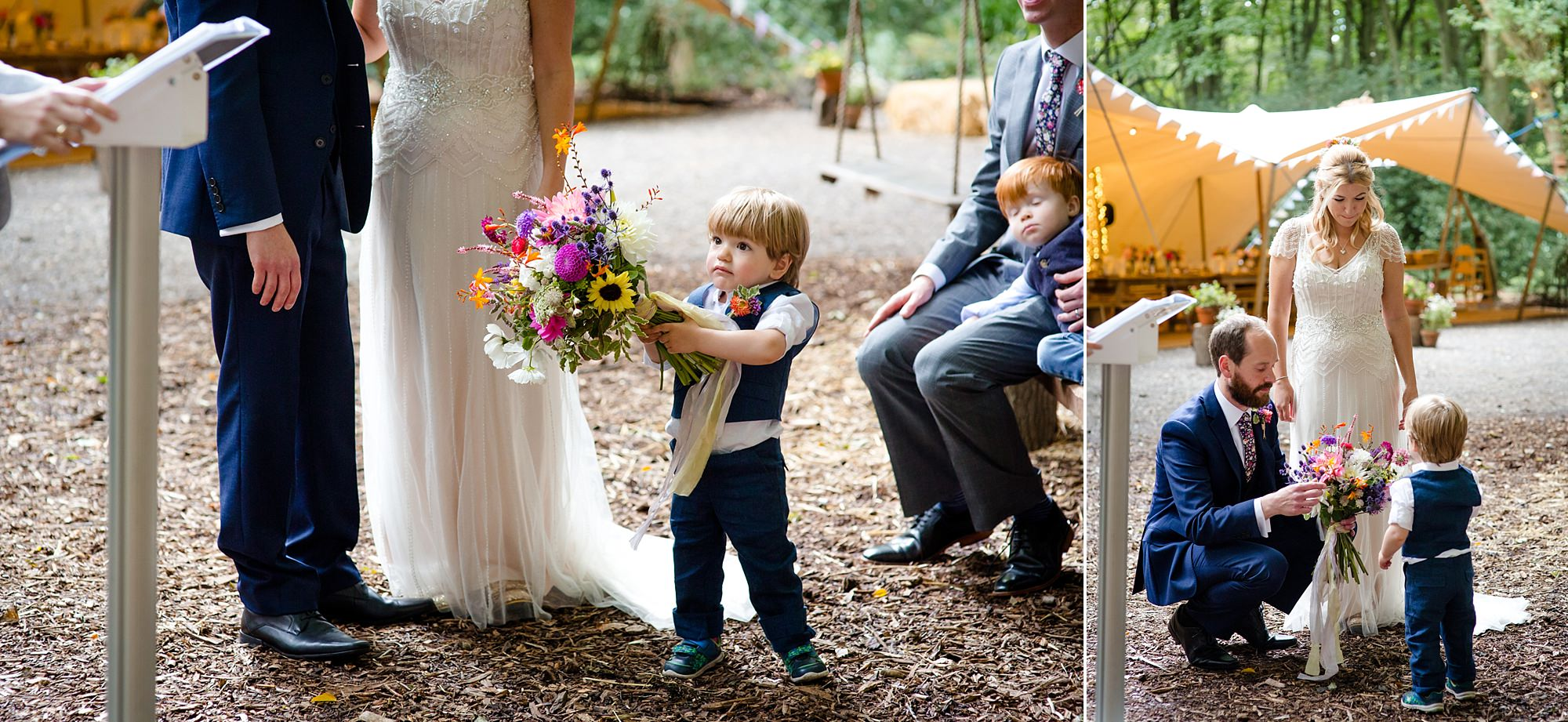 Woodland Weddings Tring pageboy with flowers