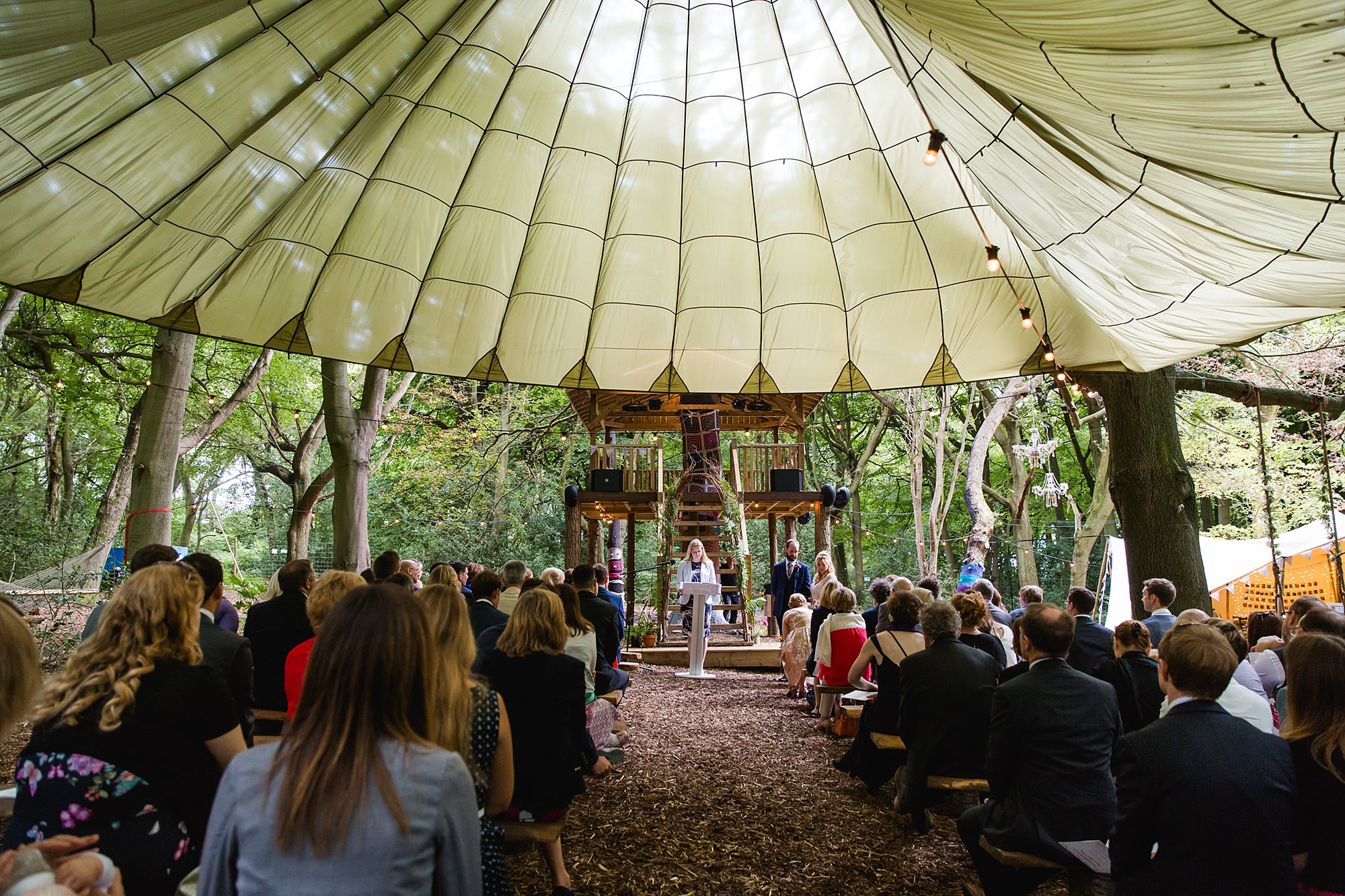 Woodland Weddings Tring wedding ceremony under canopy