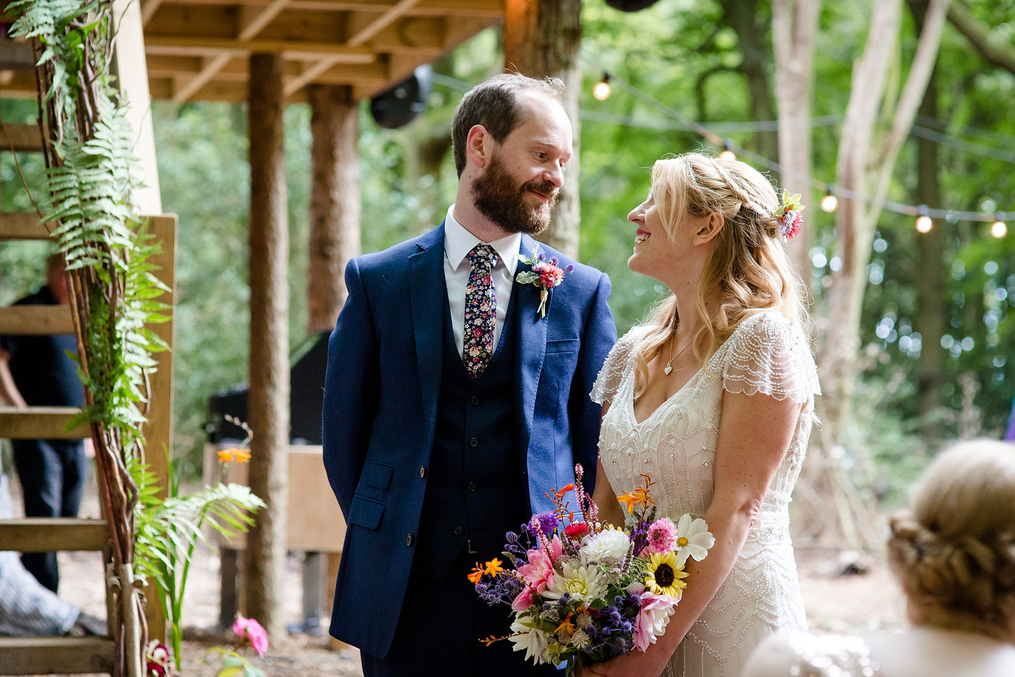 Woodland Weddings Tring bride and groom during reading