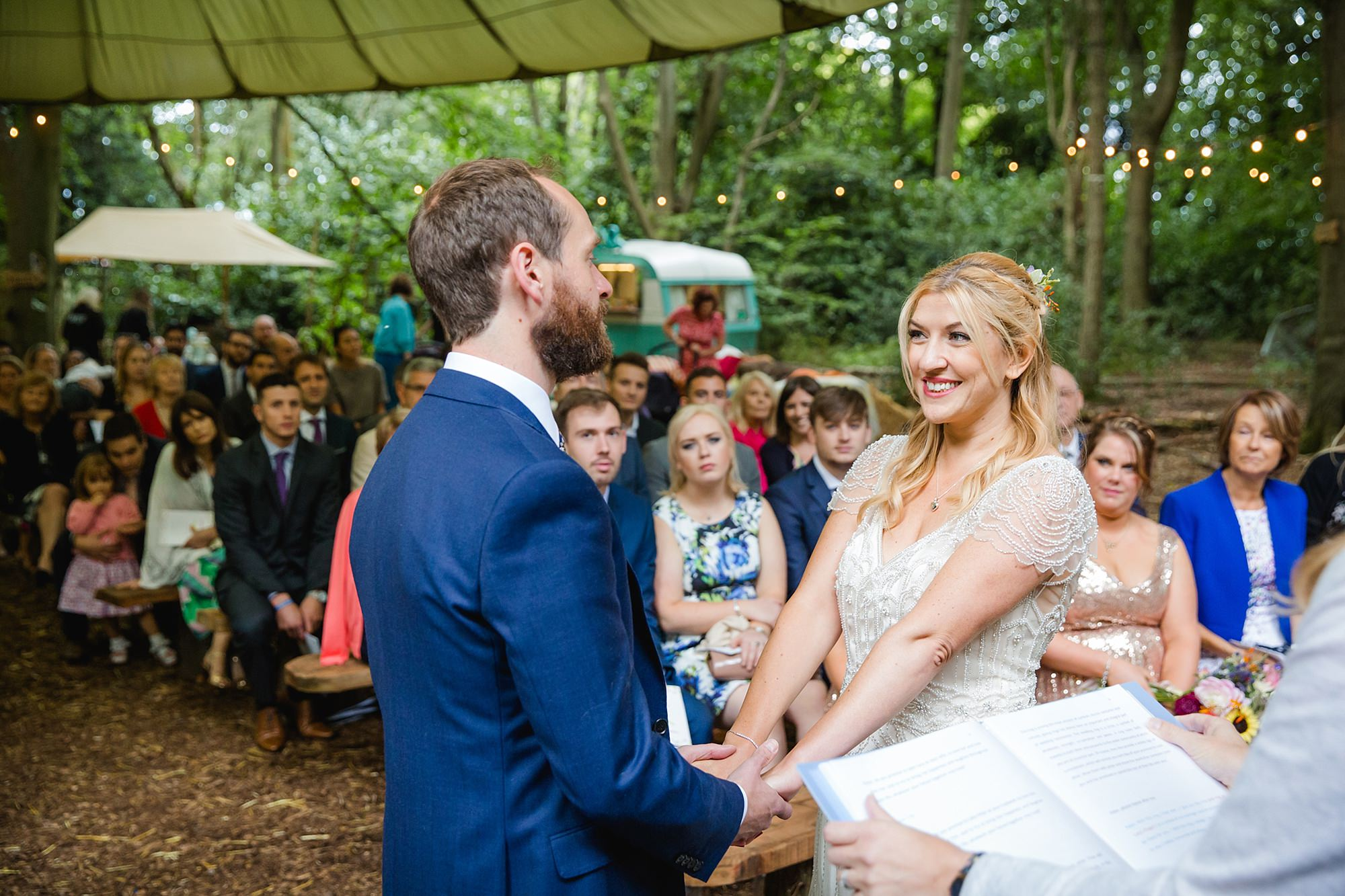 Woodland Weddings Tring portrait of bride and groom during vows