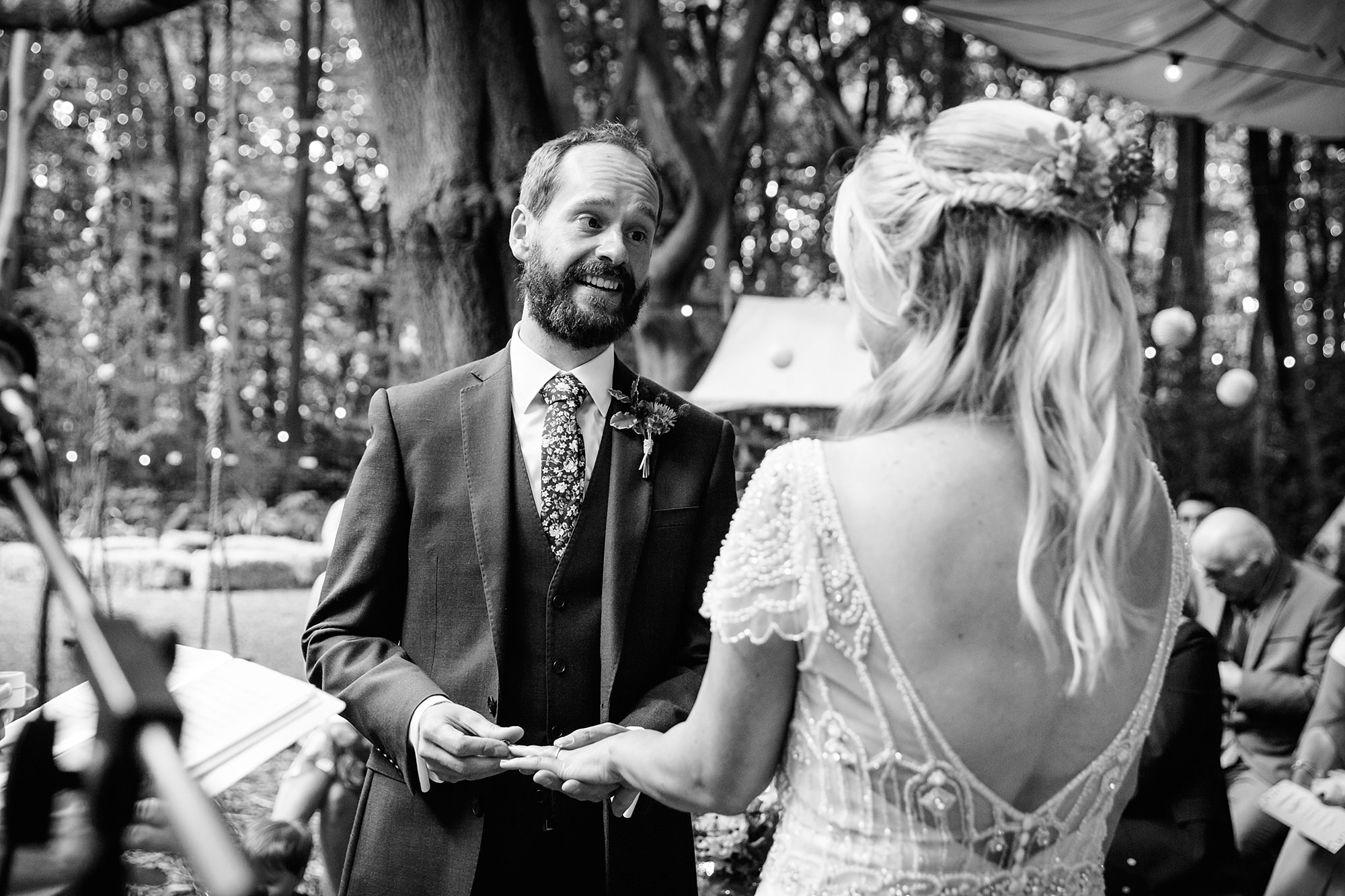 Woodland Weddings Tring groom giving ring
