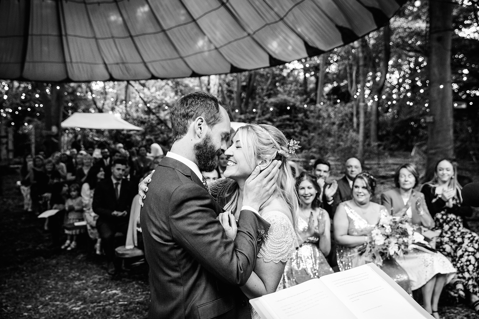Woodland Weddings Tring bride and groom after first kiss