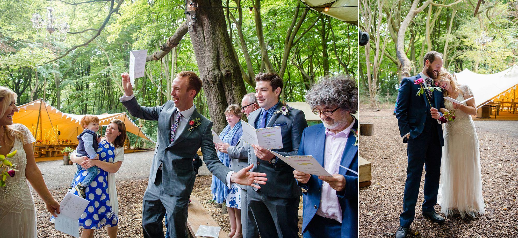 Woodland Weddings Tring guests sing songs