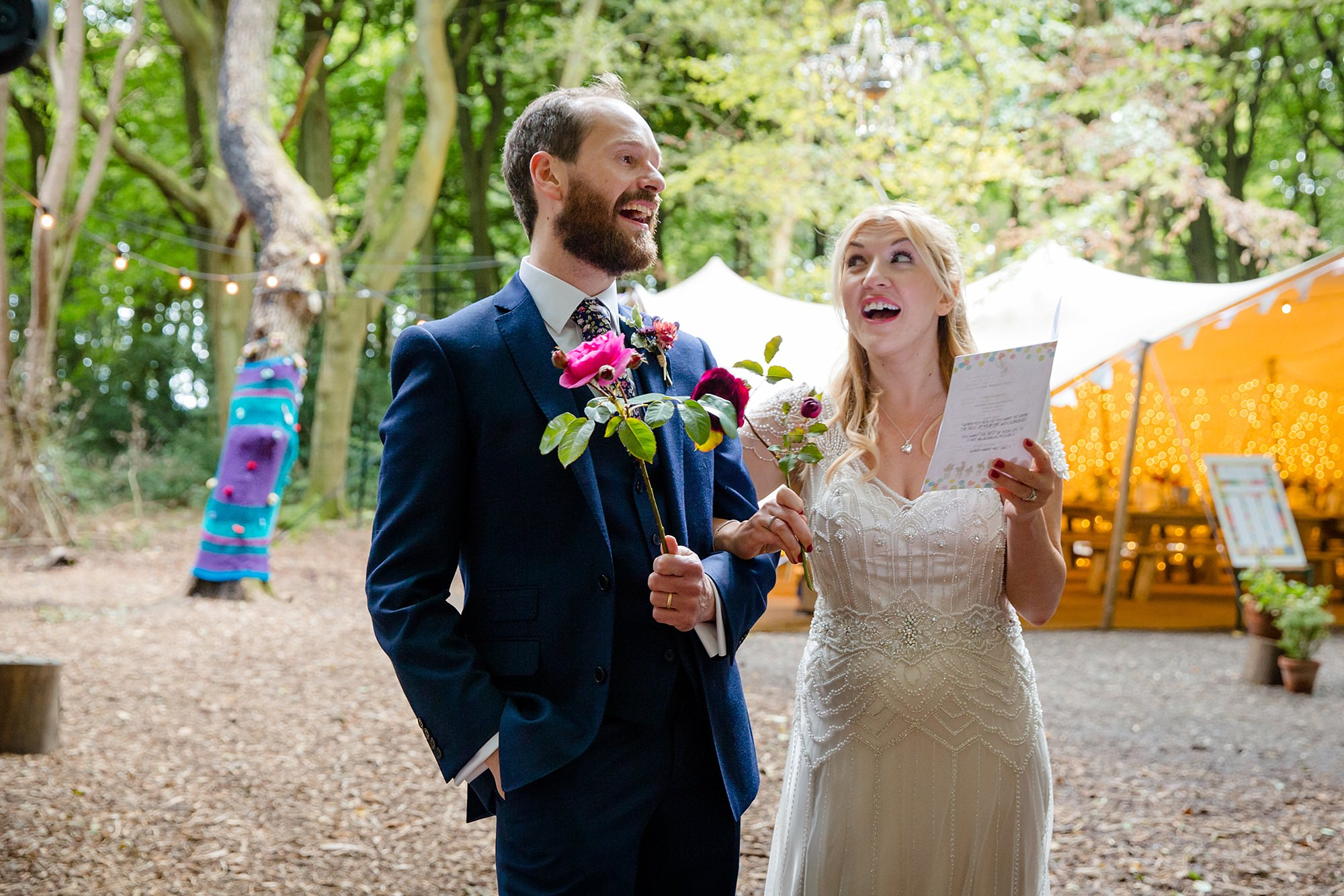 Woodland Weddings Tring bride and groom singing