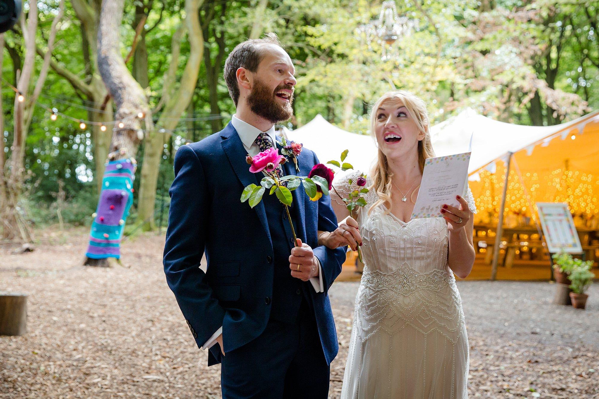 Woodland Weddings Tring bride and groom singing