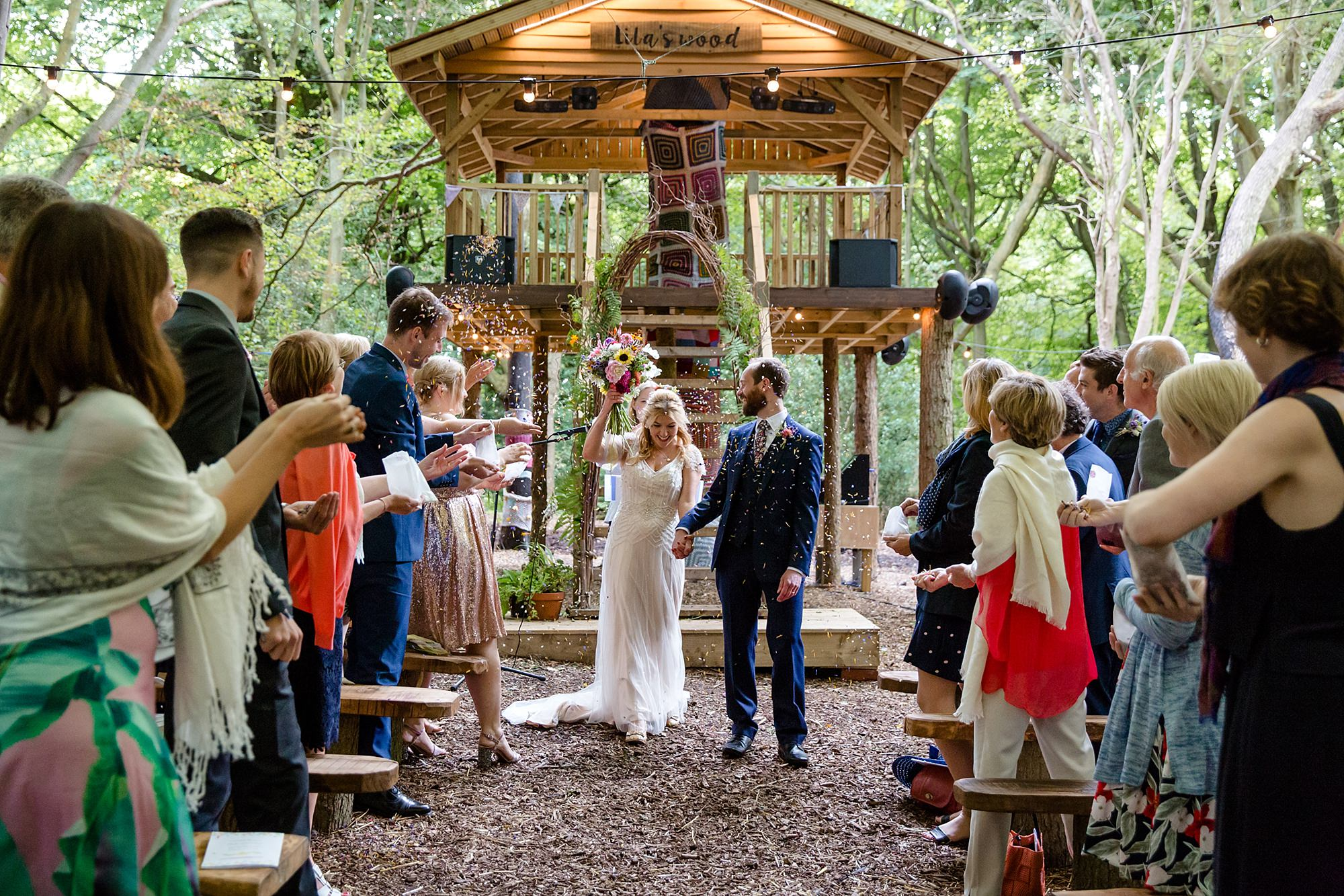 Woodland Weddings Tring bride and groom exit ceremony