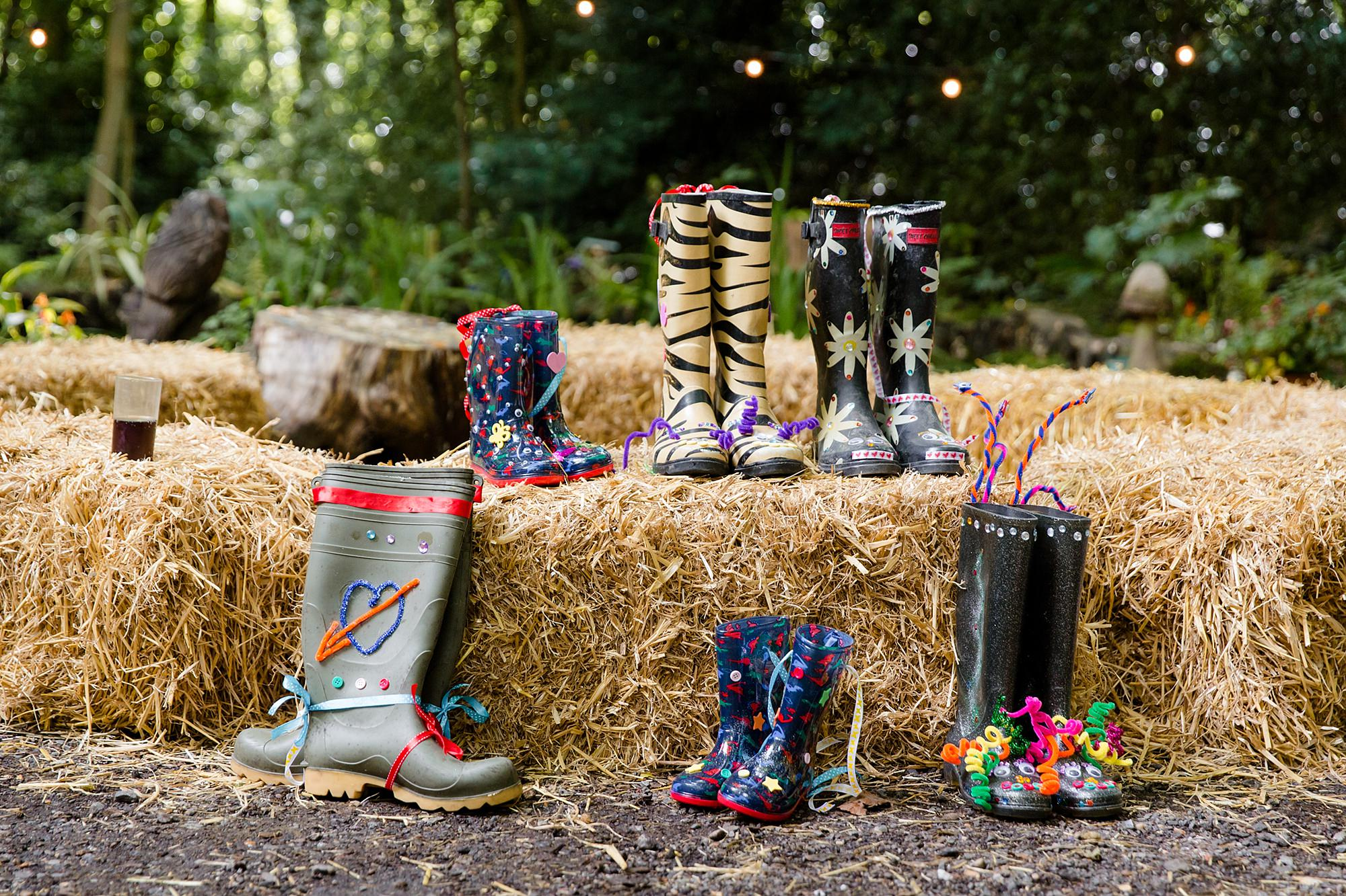 Woodland Weddings Tring set of decorated wellies for welly wanging