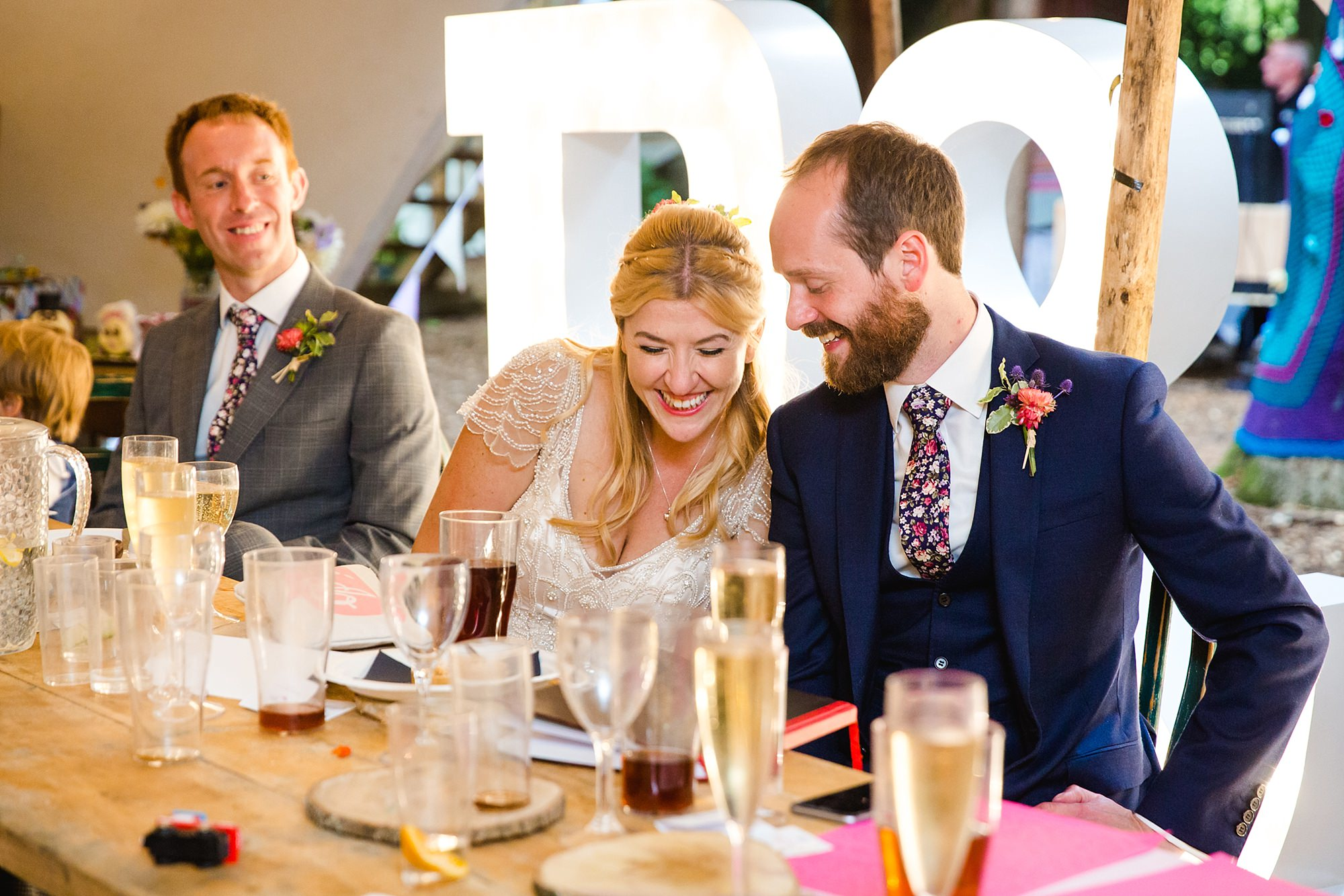 Woodland Weddings Tring bride and groom during dinner