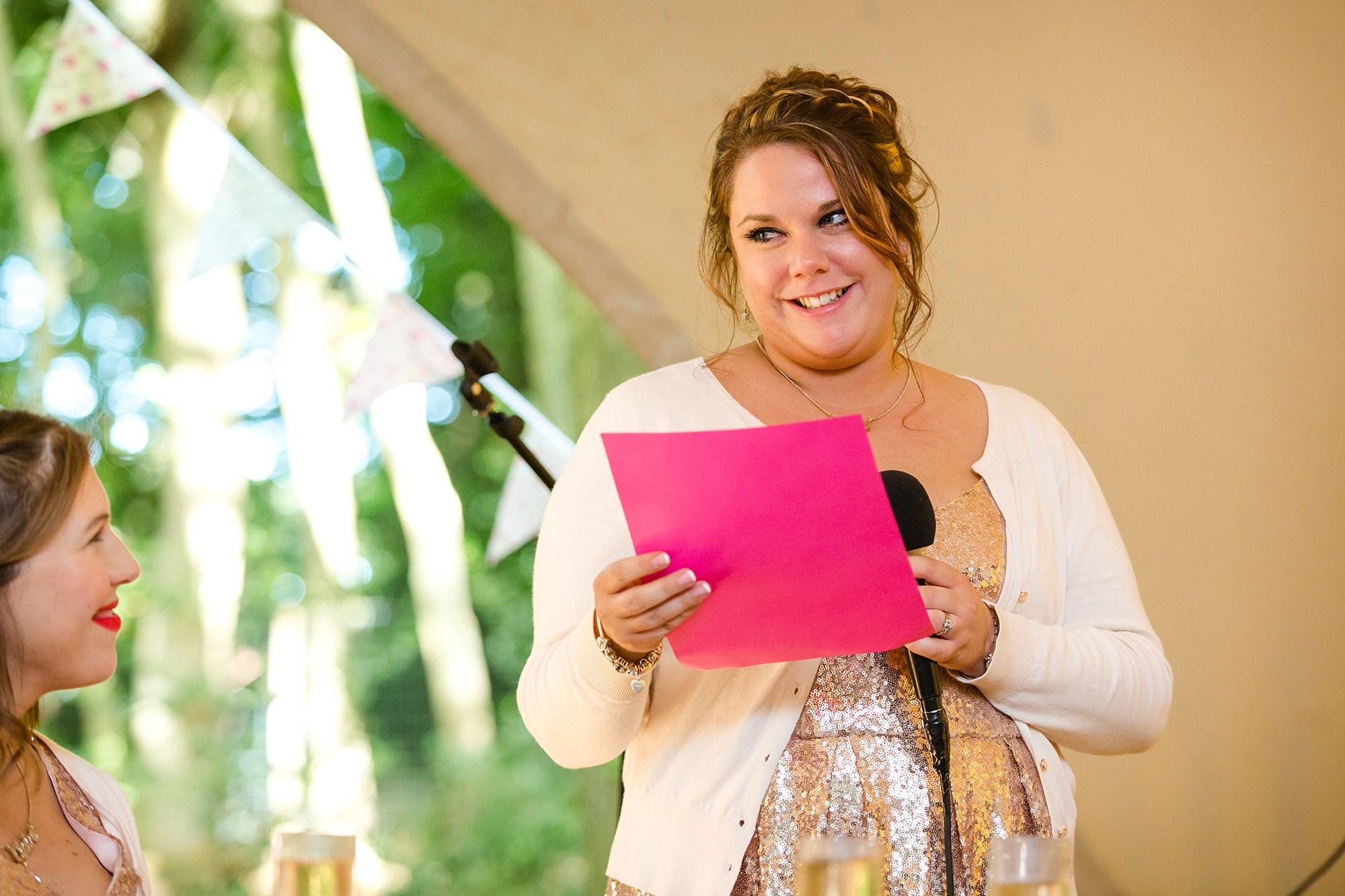 Woodland Weddings Tring bridesmaid speech